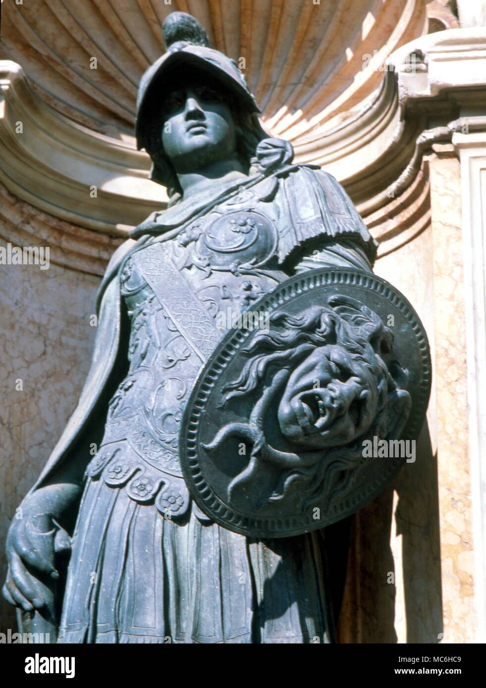 AMULETS - Medusa Shield emblazoned with the amuletic device of the Medusa Head, which is supposed to render enemies motionless, or dead.  Statuary in the small loggia of the Campanile, Venice - Stock Image