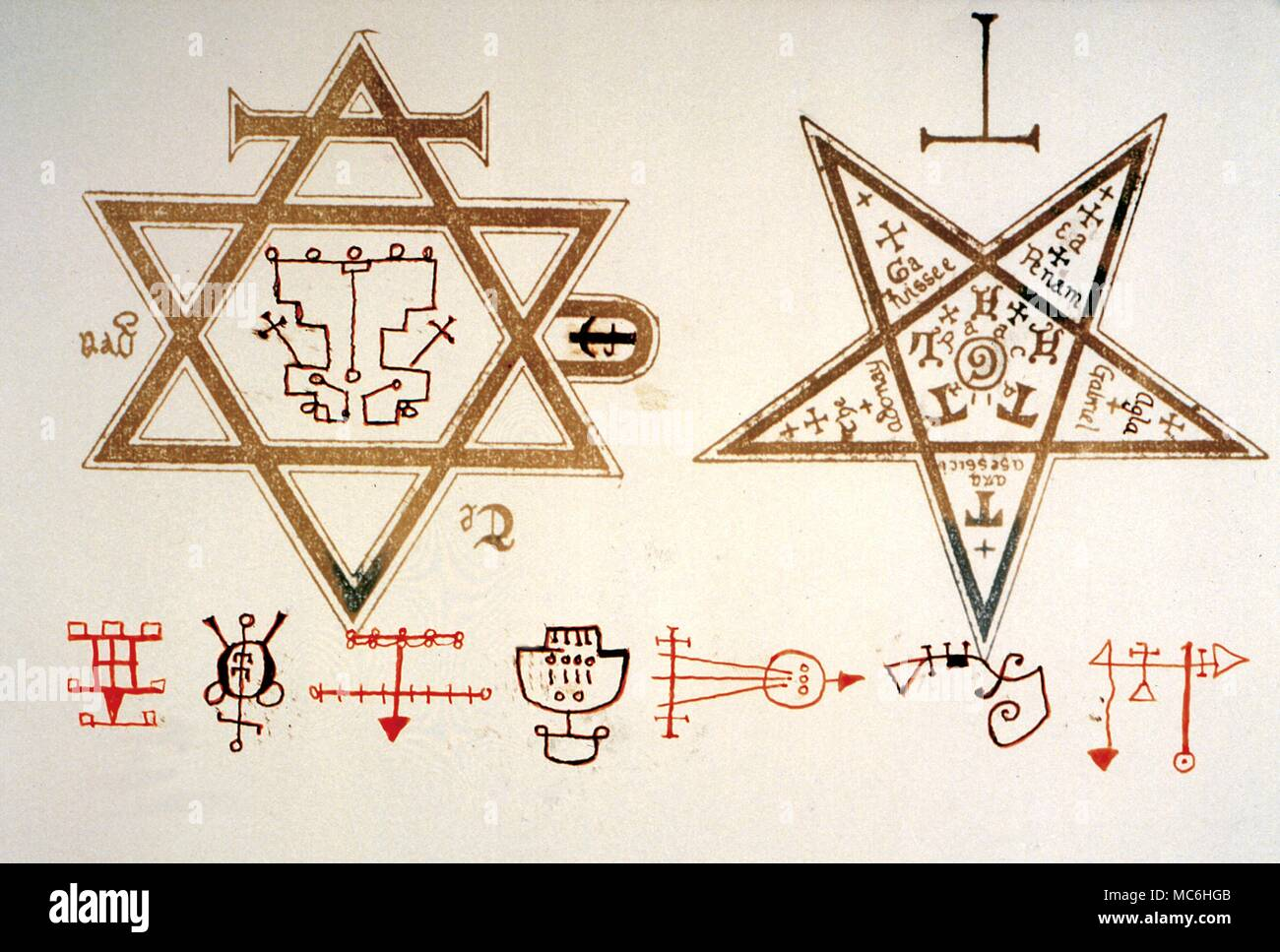 Magic symbols Hexagon and Pentagram  The Star of David and