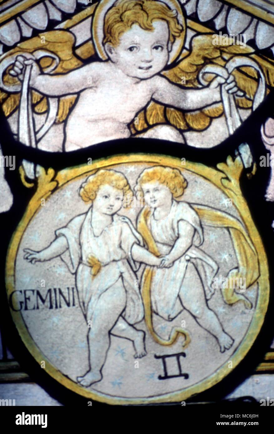 Zodiac Signs Gemini Stained glass image of Gemini the Twins