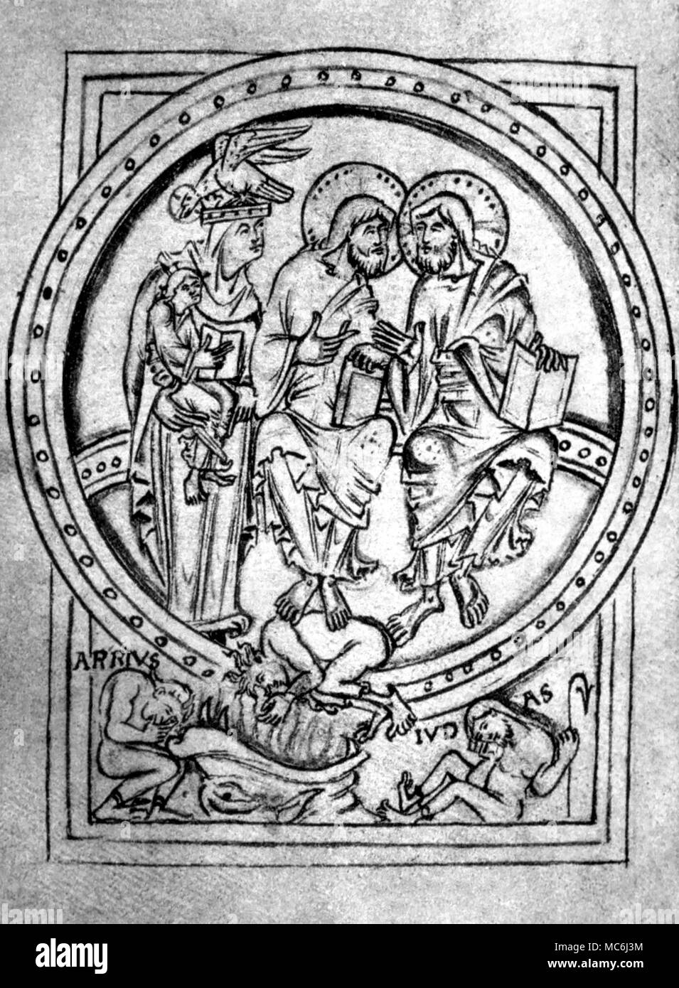 Christian Judas and Satan Page from the Offfices of the Cross and Trinity 1012AD Easter Table for 978-1097 From facsimile of 1878 issued by the Paleographic Society by the manuscript in the BM Cotton Titus D - Stock Image