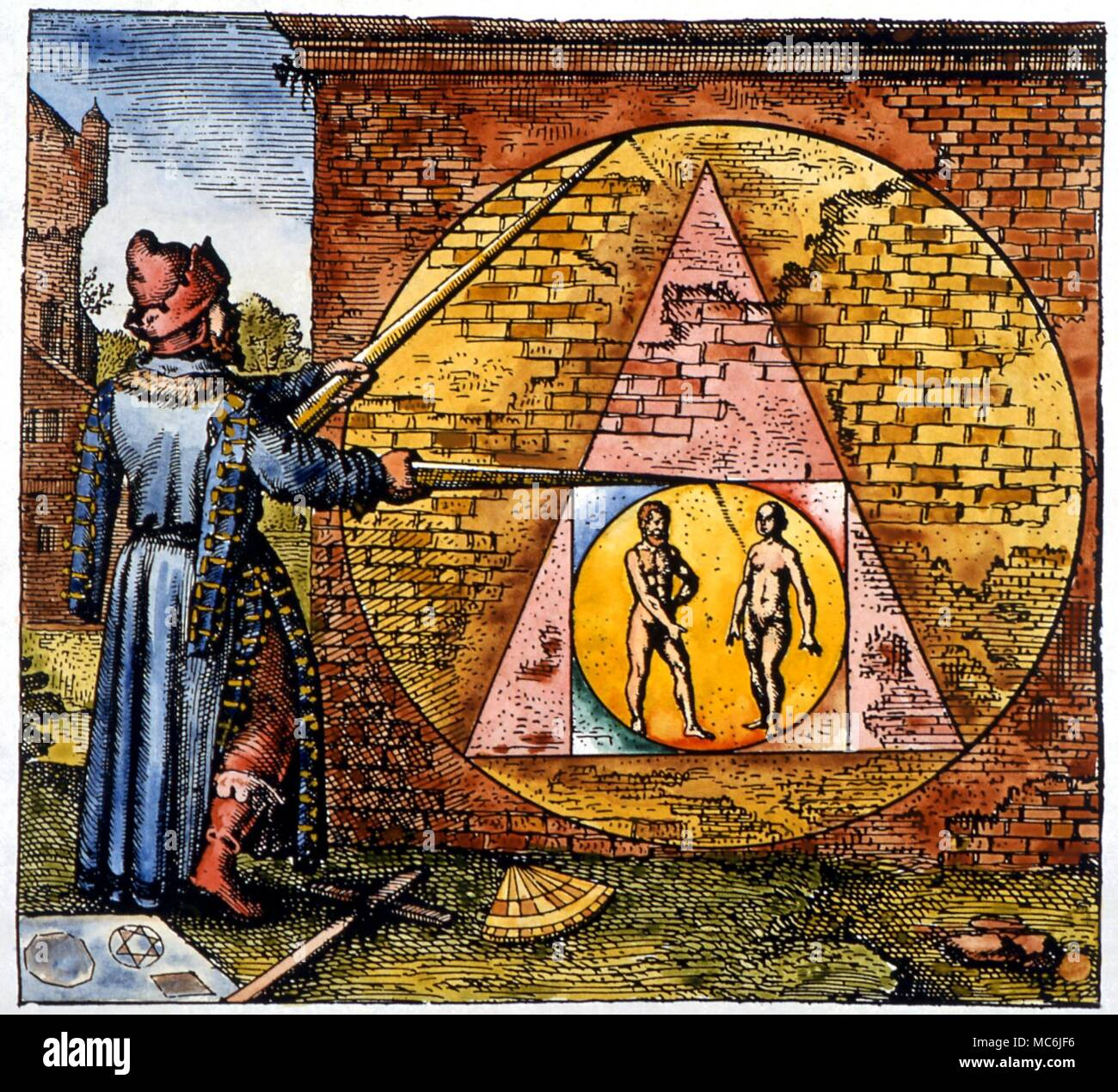 ALCHEMY - Squaring the Circle.  Magician with dividers squaring the circle, symbolic of magical operation that brings spirit (circle) into matter (square).  From Michael Maier, Atalanta Fugiens, 1618 - Stock Image