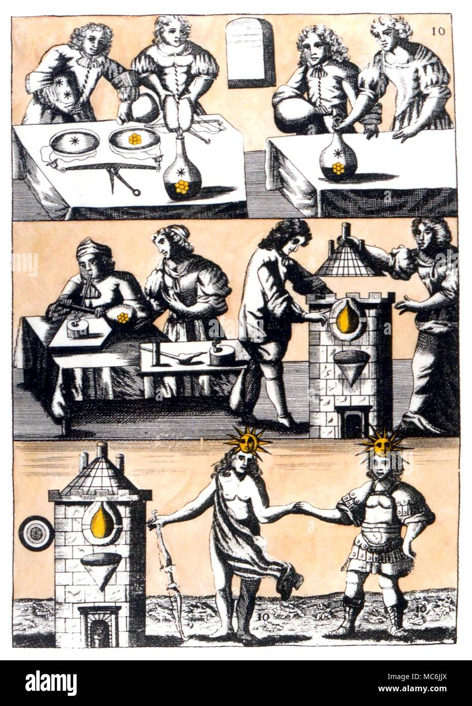 ALCHEMY - MUTUS LIBER.  Plate 10 from 'Mutus Liber', the Wordless Book, 1677 (La Rochelle), probably designed by Jacob Saulat.  Plate 10 - Relating the correct proportions of Flower and Salines Stock Photo