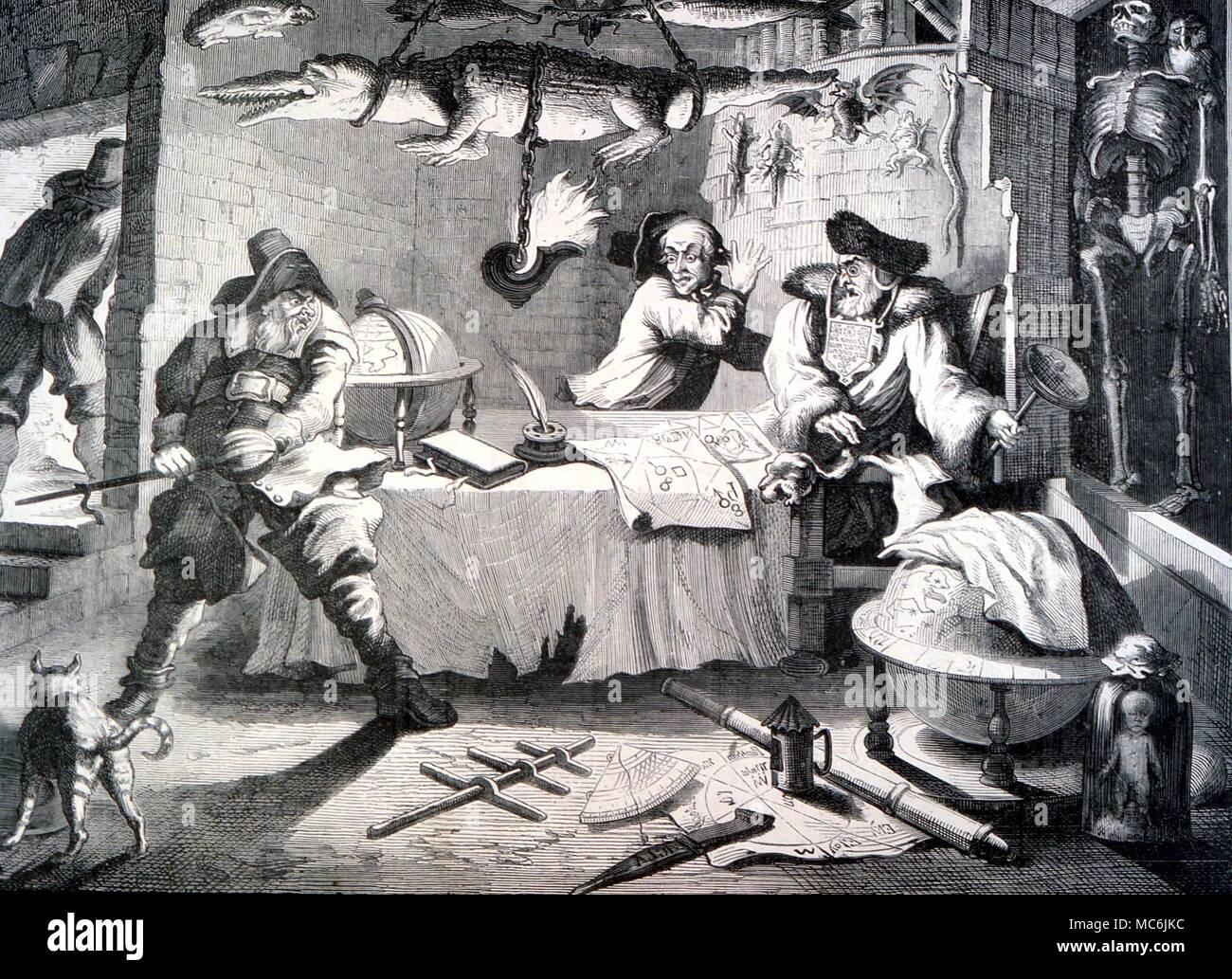 ALCHEMY - HUDIBRAS.  Engraving to samuel Butler's satirical poem (finished 1678) showing Hudbras consulting the quack alchemist-astrologer Sidrophel - Stock Image