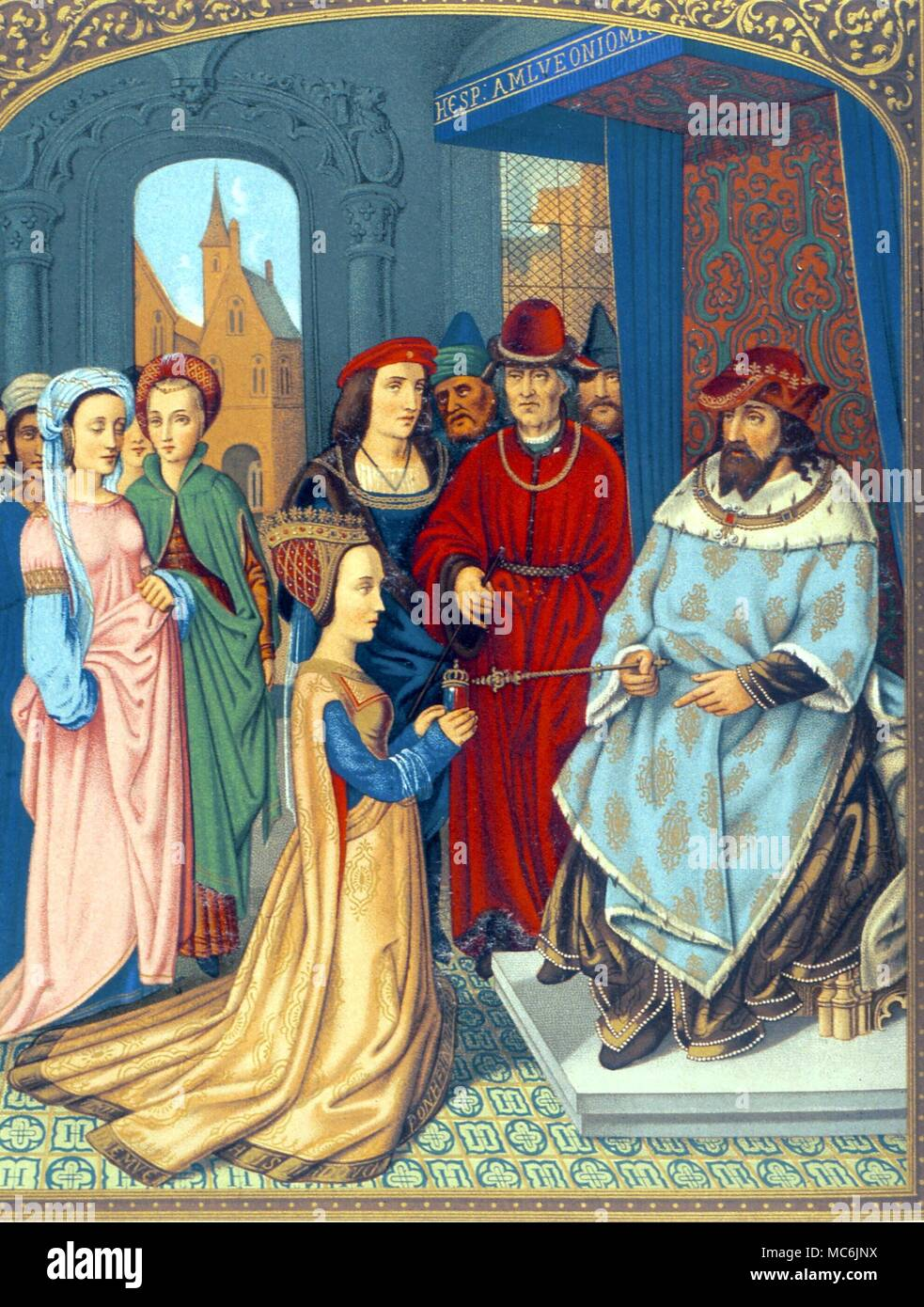 OCCULTISTS - KING SOLOMON.  Solomon being presented  to the Queen of Sheba.  Chromolithographic facsimile from the breviary of Cardinal Grimandi (att. to Memling), 15C.  After the 1876 edition of Lacroix, 'Middle Ages' - Stock Image