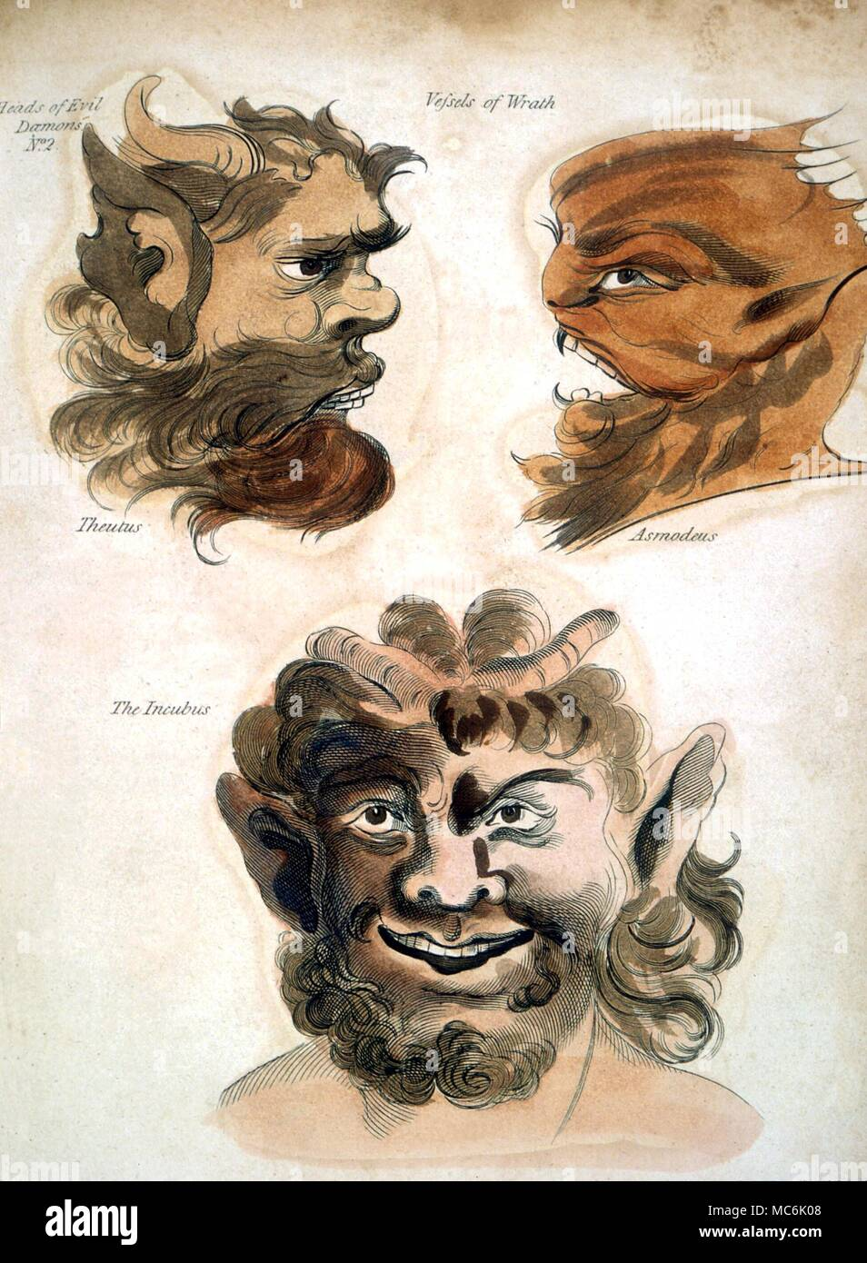 DEMONS - FACES OF CONJURED DEMONS.  The demon claiming the name Asmodeus, with a companion - portraits from Francis Barrett's The Magus, or Celestial Intelligencer of 1801 - Stock Image
