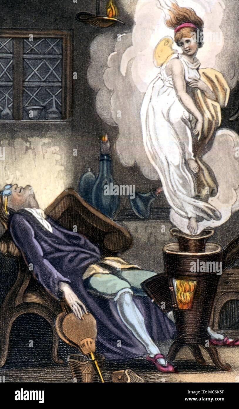 Alchemy Apparition of Spirit of Gold The adept entranced by the Apparition of Crysal in the Laboratory - Stock Image