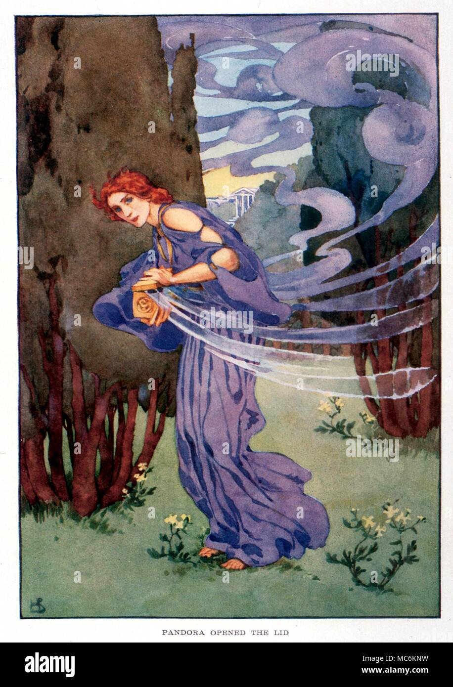 Greek Mythology. Pandora opens the lid of the box given to the world by the Gods, and allows all the evils to escape. Illustration by Helen Stratton, 1915, for 'A Book of Myths'. - Stock Image