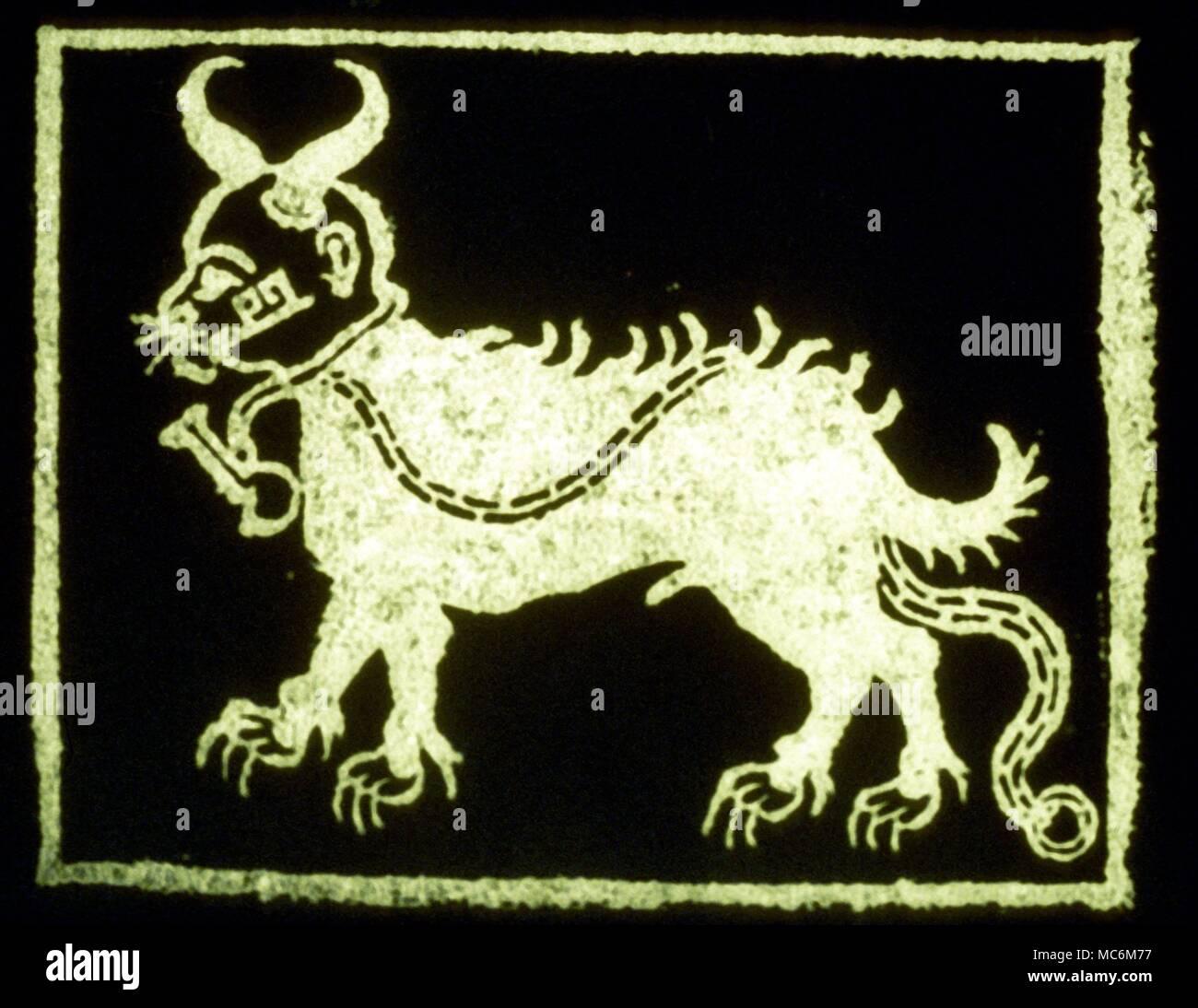 Ghostly Dogs - Devil Dog  Devil Dog - woodcut illustration