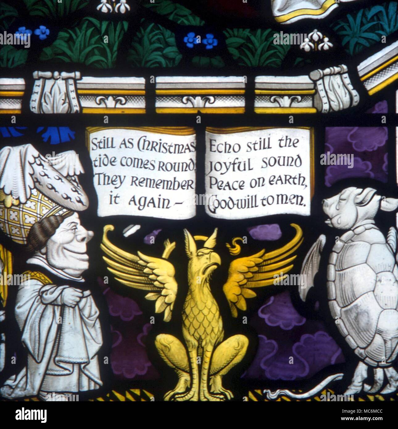 FAIRY TALES - ALICE IN WONDERLAND.  The Queen, the Griffin and the Mock Turtle.  Detail from the Lewis Carroll memorial window, Daresbury - Stock Image