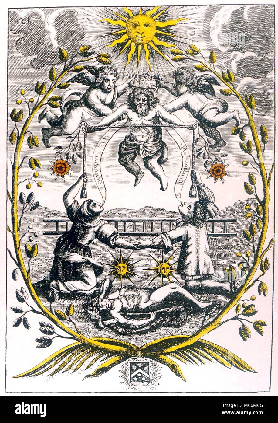 ALCHEMY - MUTUS LIBER.  Plate 15 from Mutus Liber, the Wordless Book, 1677 (La Rochelle), probably designed by Jacob Saulat.  Plate 15 - the transfiguration of the Quintessence (Hercules) - Stock Image