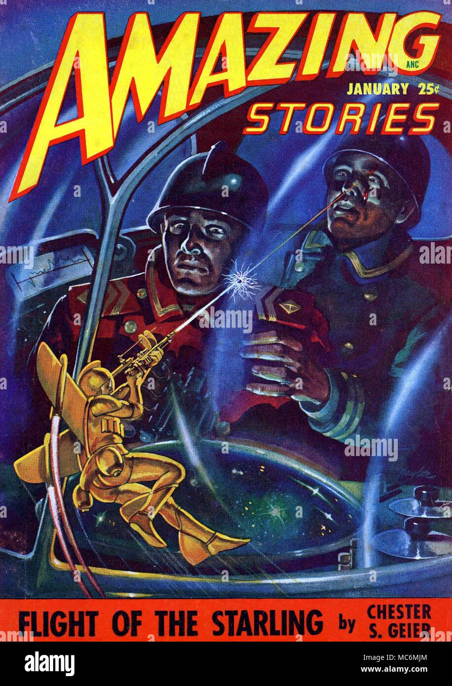 SPACE-MEN - FANTASY Cover artwork by Raymond Naylor for Amazing Stories, Vol. 22, No. 1, January 1948.  The picture is intended to illustrate Chester Geier's story, Flight of the Starlings. Rocket propelled space-man shoots at giant soldiers in space-craft dome. Stock Photo