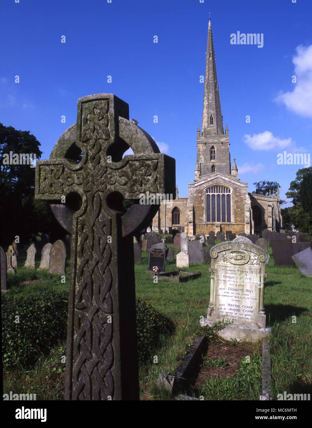 Witchcraft Site Bottesford Church of St Mary the Virgin at Bottesford which houses the witchcraft tomb referent to the Flower family interlude of supposed killing by witchcraft in the sixteenth century - Stock Image