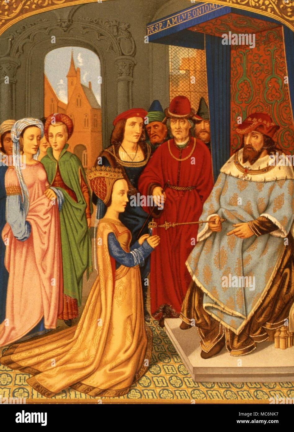 Mediaeval image depicting the reception of the Queen of Sheba by King Solomon. Chromolithographic  facsimile from the breviary of Cardinal Grimandi, attributed to Memling.  From the 1876 ed. of Lacroix, 'Middle Ages'. - Stock Image