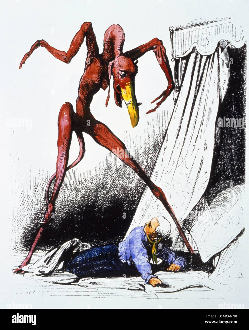 Demon used as a woodengraving illustration by Collin de Plancy in his 'Dictionnaire Infernal' of 1863, but derived from a painting by Salvator Rosa, 'The Nightmare.' - Stock Image