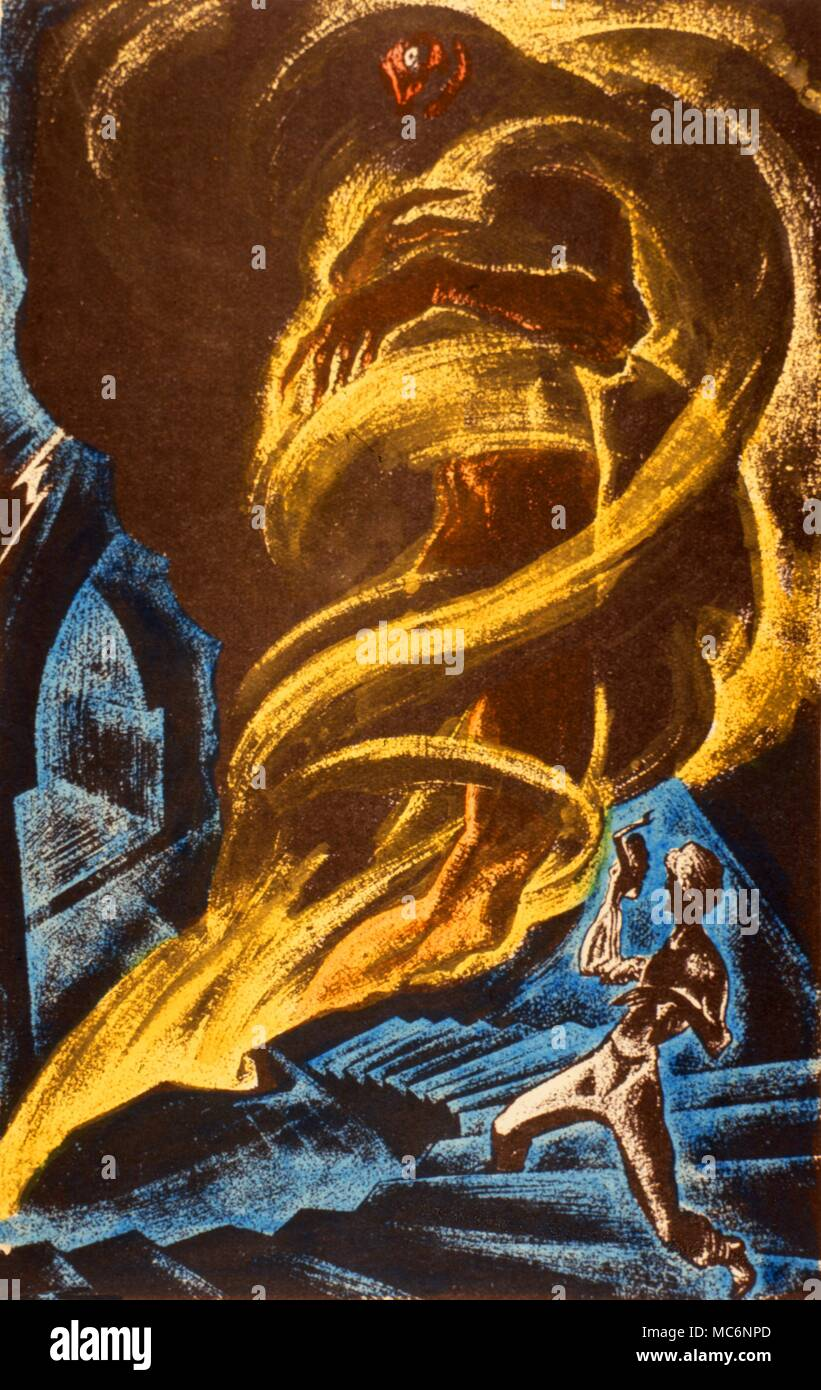 Illustration to the the story, The Second Kalendar's Tale', fromthe Arabian  Nights. Hand-coloured illustration by Lynd Ward, for Alexander Laing's 'The  ...