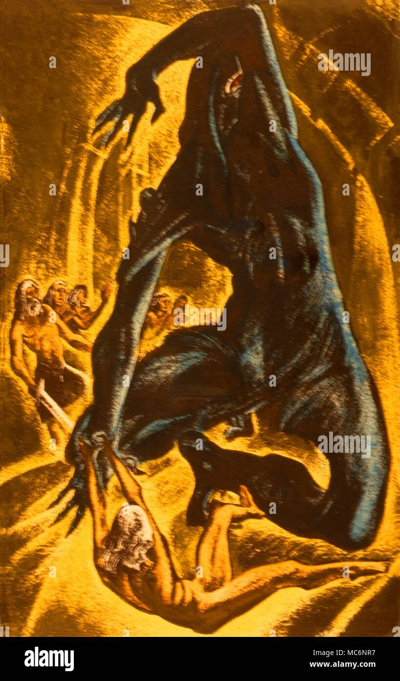 The Grendel episode in the Beowulf story - illustration by Lynd Ward for Laing's 'The Huntd Omnibus'. - Stock Image