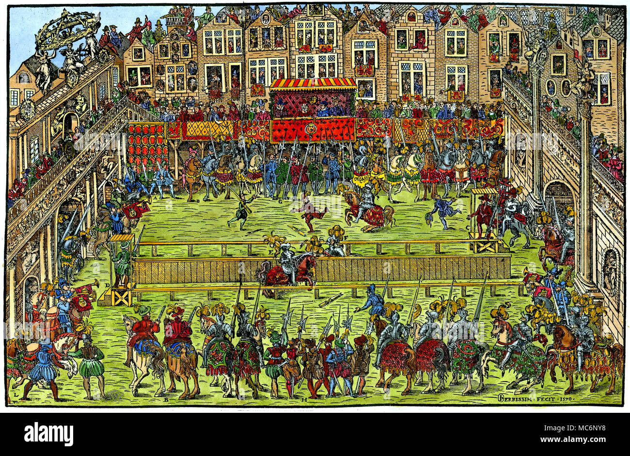 This hand-coloured woodengraving portays the event which  became [in the sixteenth century at least] the most important of Nostradamus' prophecies.  Henri died in consequence of  the accident portrayed in the print, when the lance of his opponent slipped and pierced his eye.  The woodcut is from Tortorel and Perrissin, 1570. - Stock Image