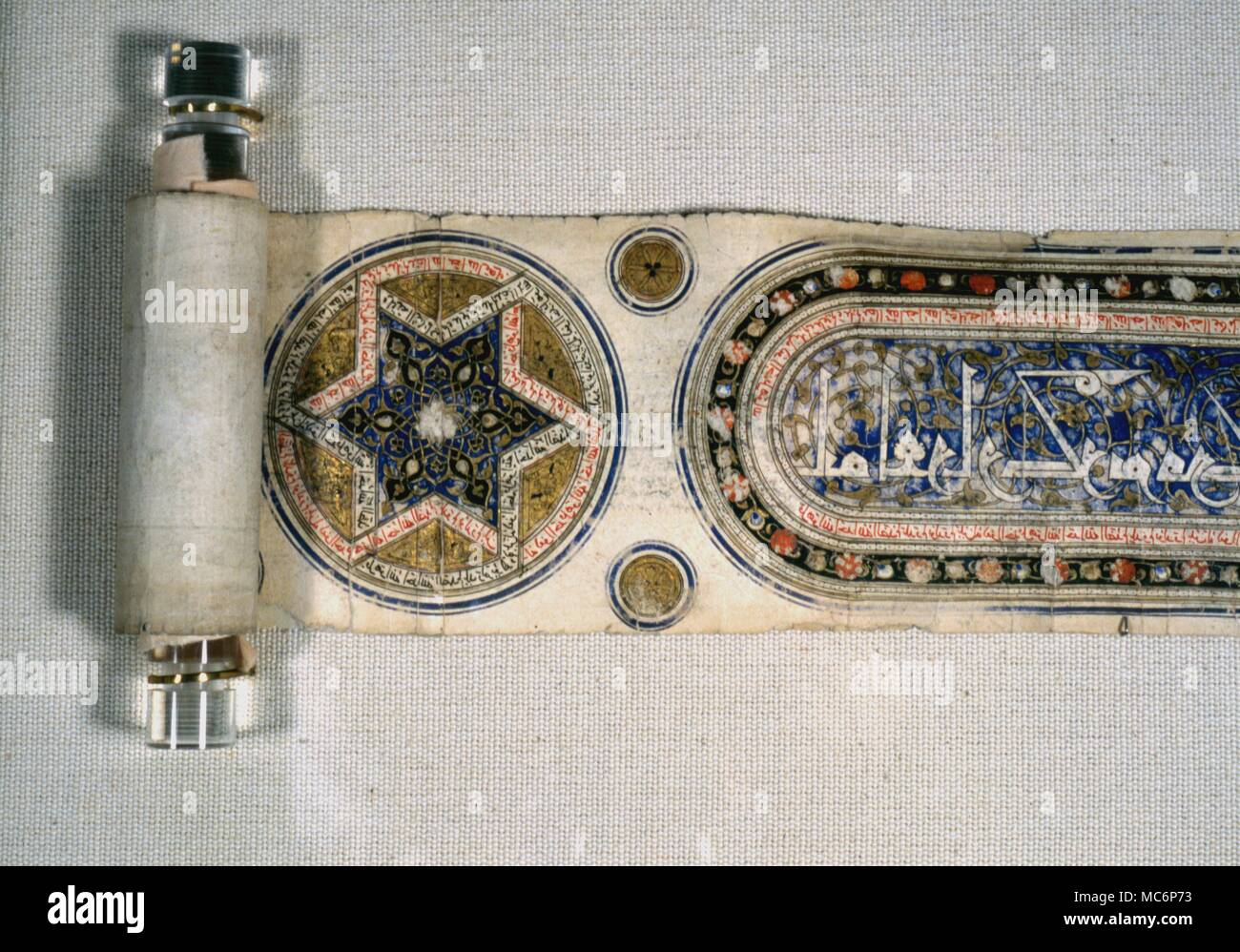 Symbols - Star Six pointed star , intended for amuletic use , on an Arabic magical scroll ( circa 16th century ) . The Dar al Athar al Islammiyah , Kuwait - Stock Image