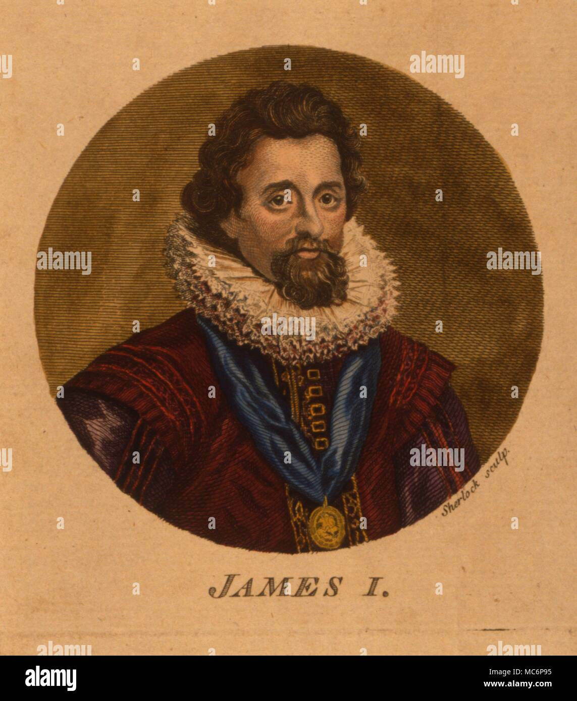 James I of England [James IV of Scotland] was the author of 'Daemonologie', a violent text directed against witchcraft. - Stock Image
