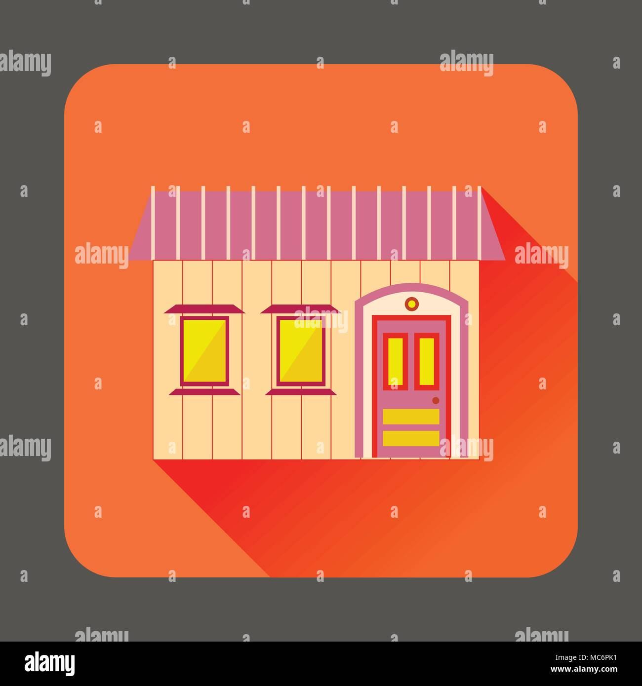 Retro style home icon, flat style - Stock Vector