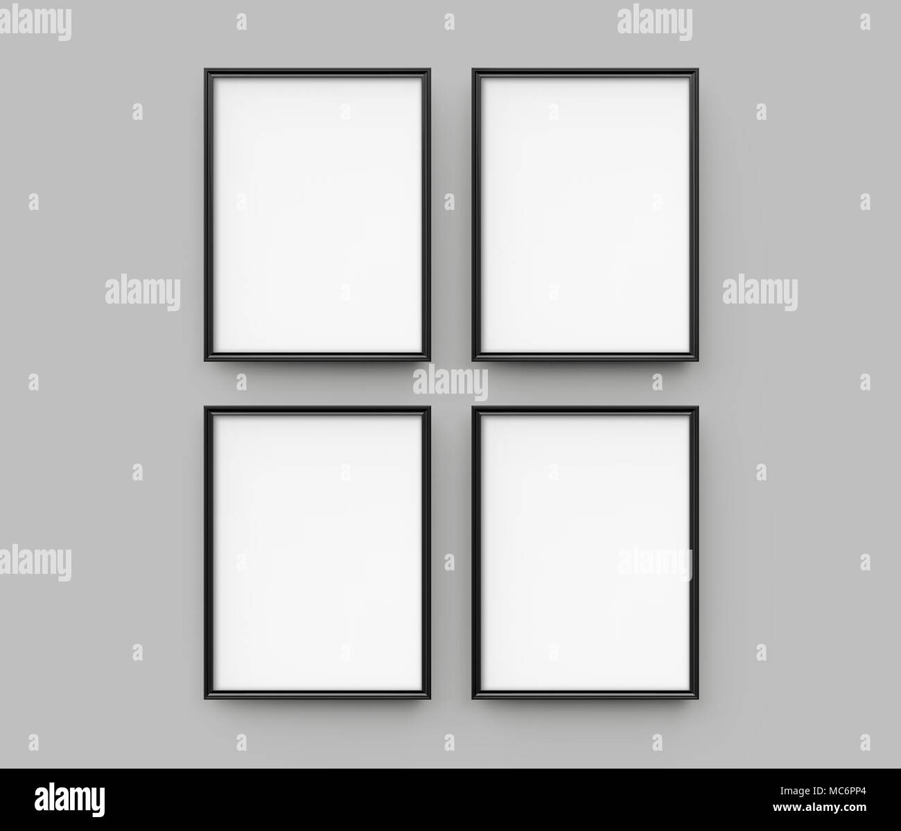 Black picture frame, 3d render thin frames collection with empty ...