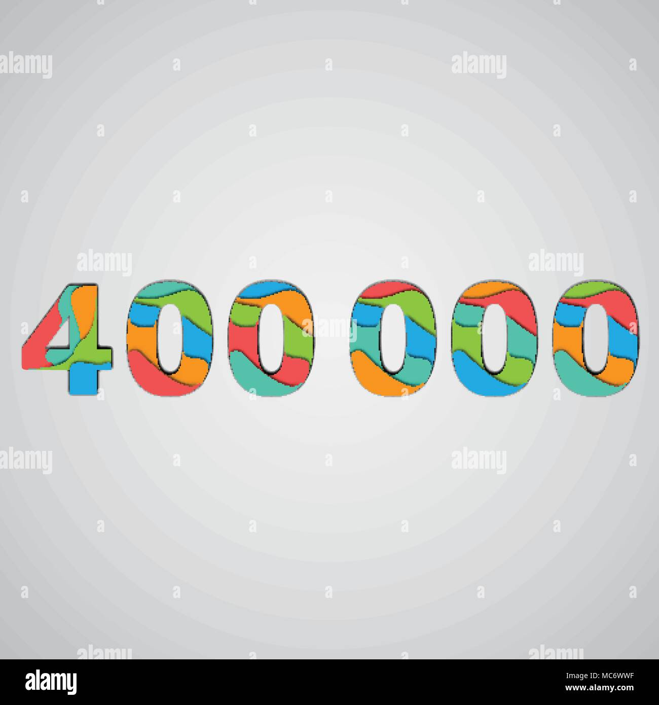 Colorful papercut layered number, vector - Stock Image