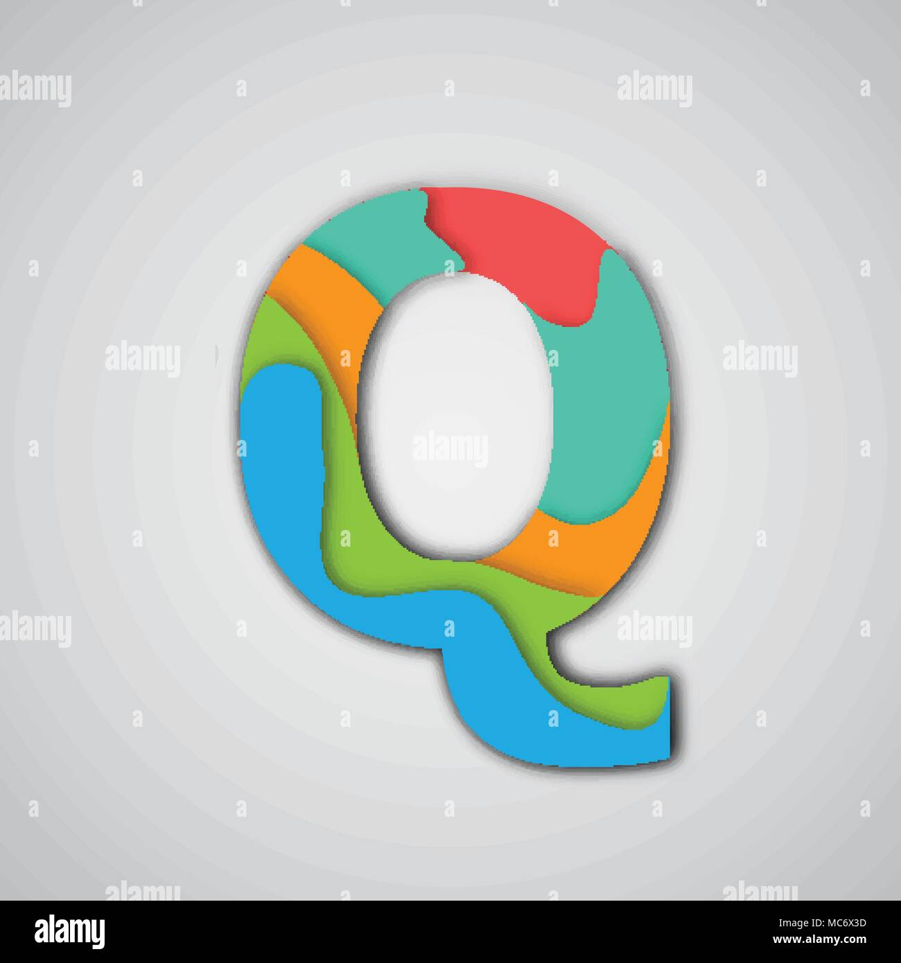 Colorful papercut layered character, vector - Stock Image