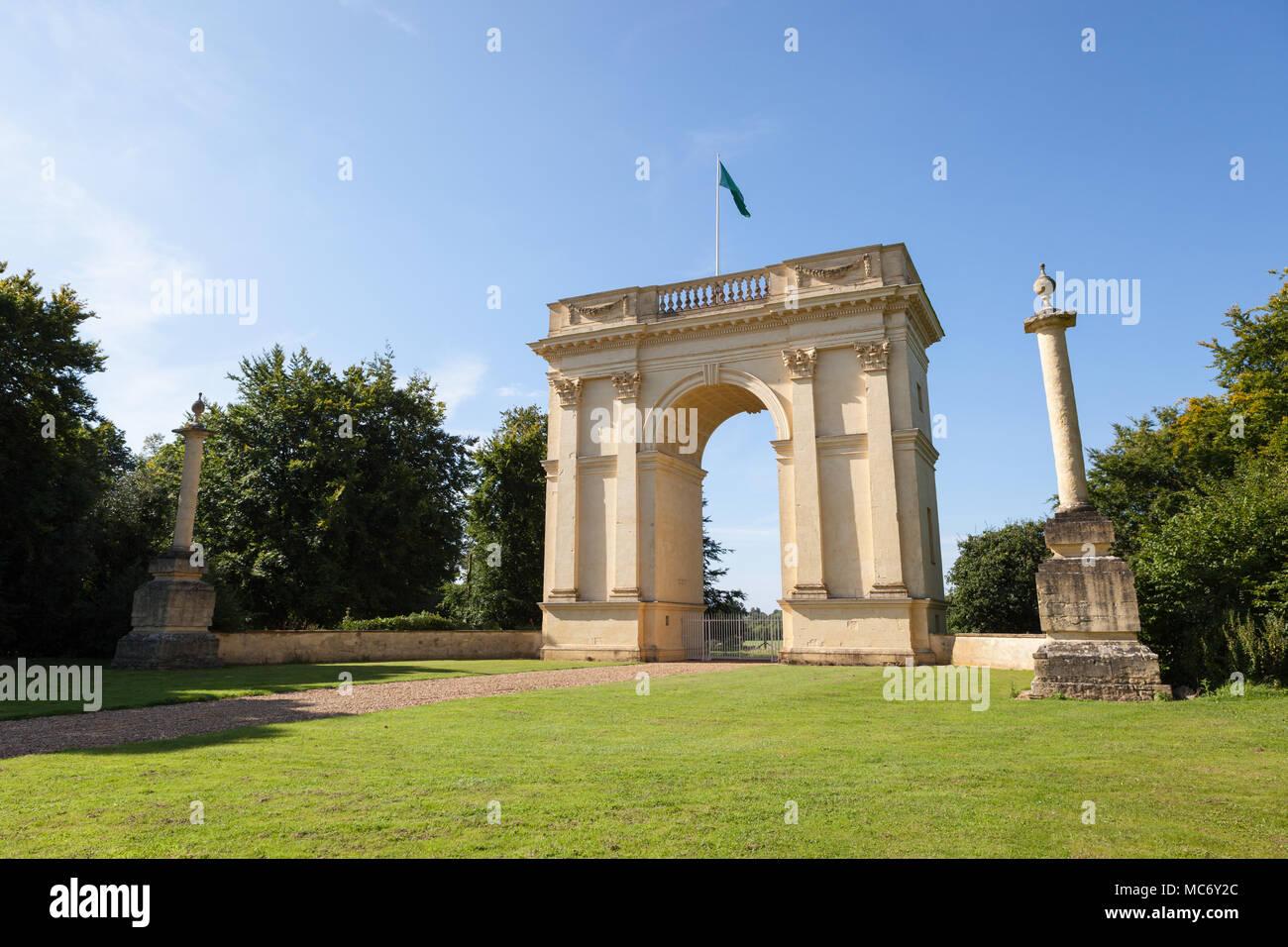 The Corinthian Arch, Stowe Landscape Gardens, Stowe House, Buckinghamshire, England, UK - Stock Image