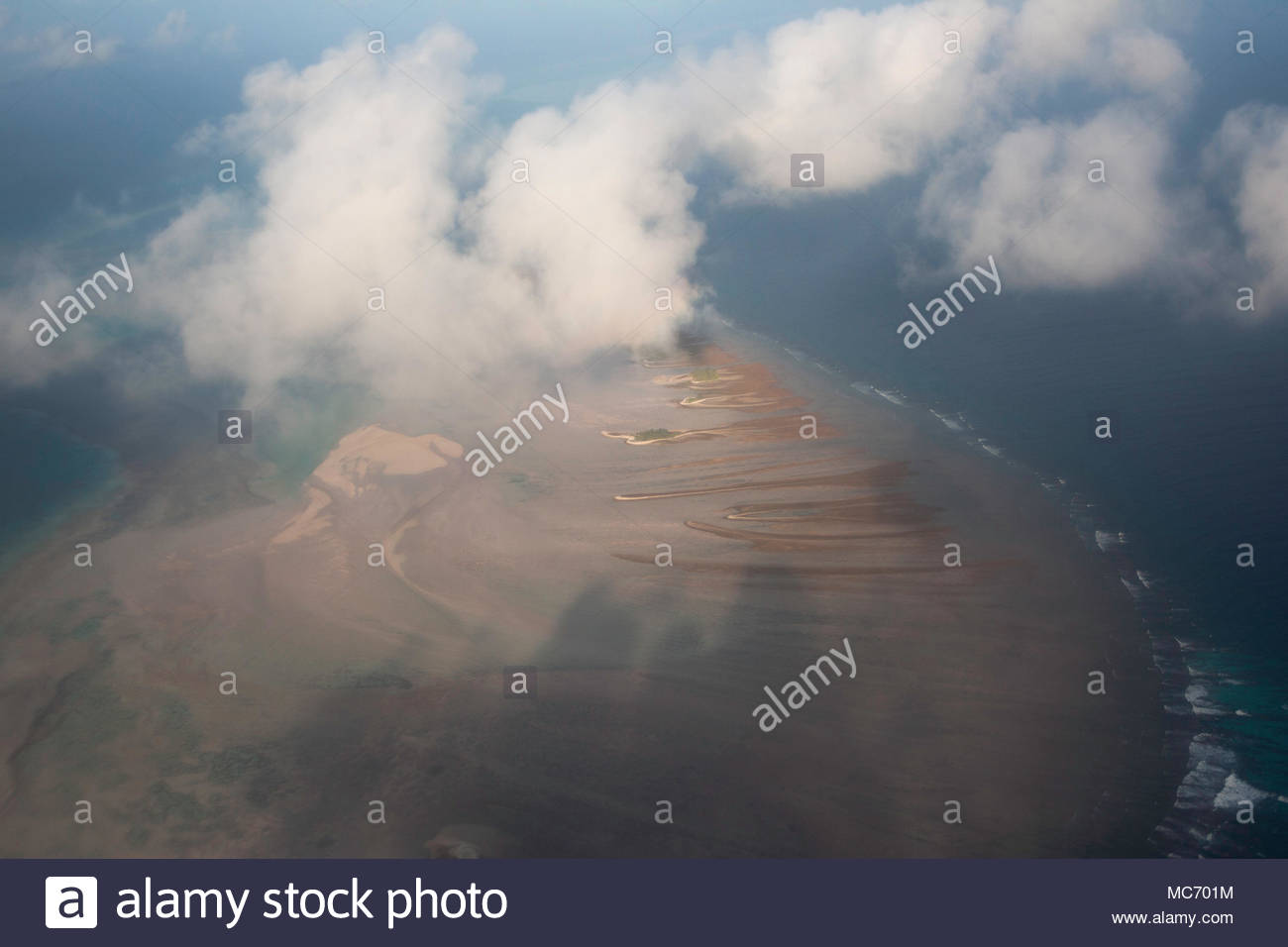 Aerial partial view of Tarawa atoll, Kiribati - Stock Image