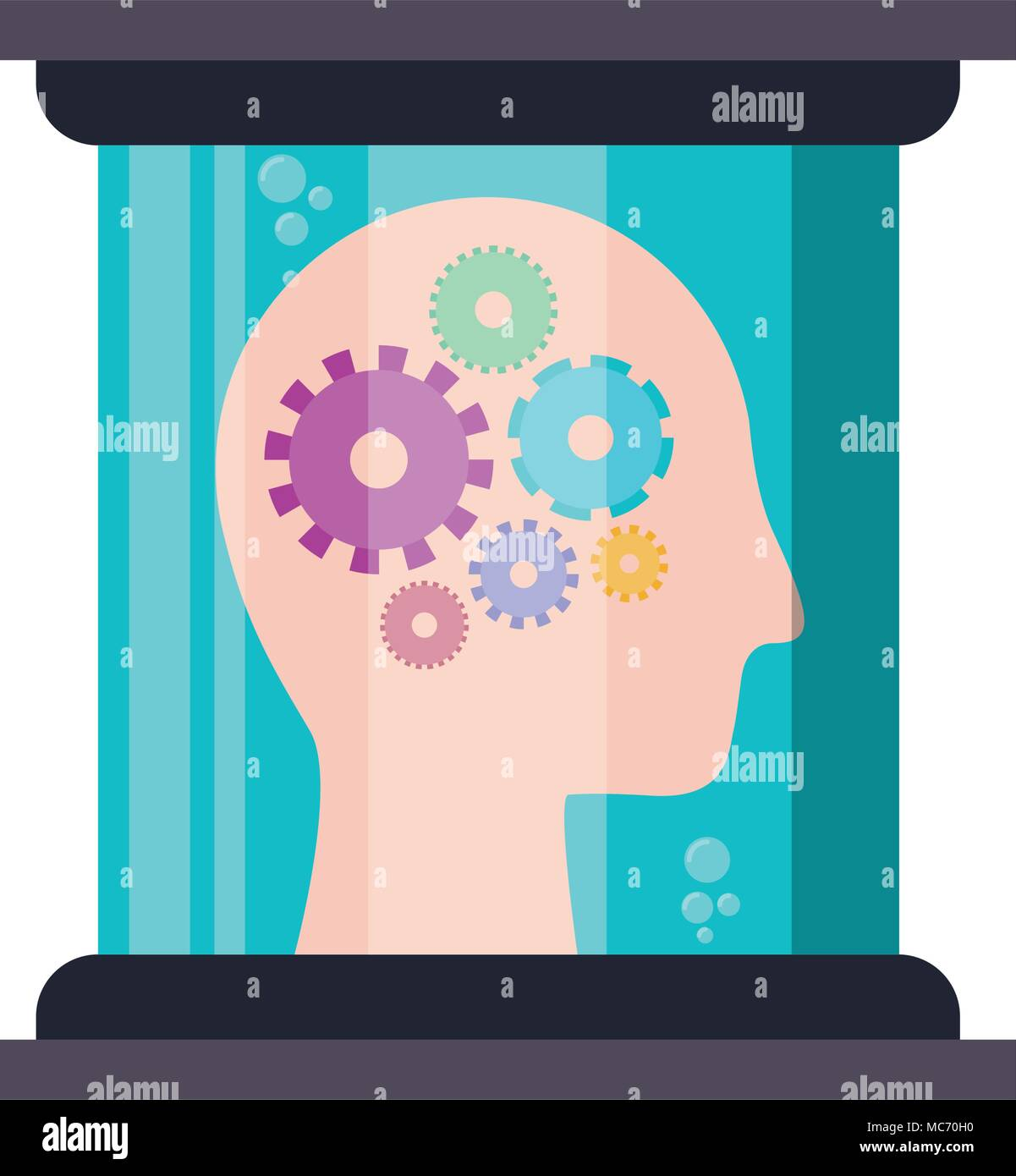 head profile human with gears in futuristic glass bottle vector illustration design Stock Vector