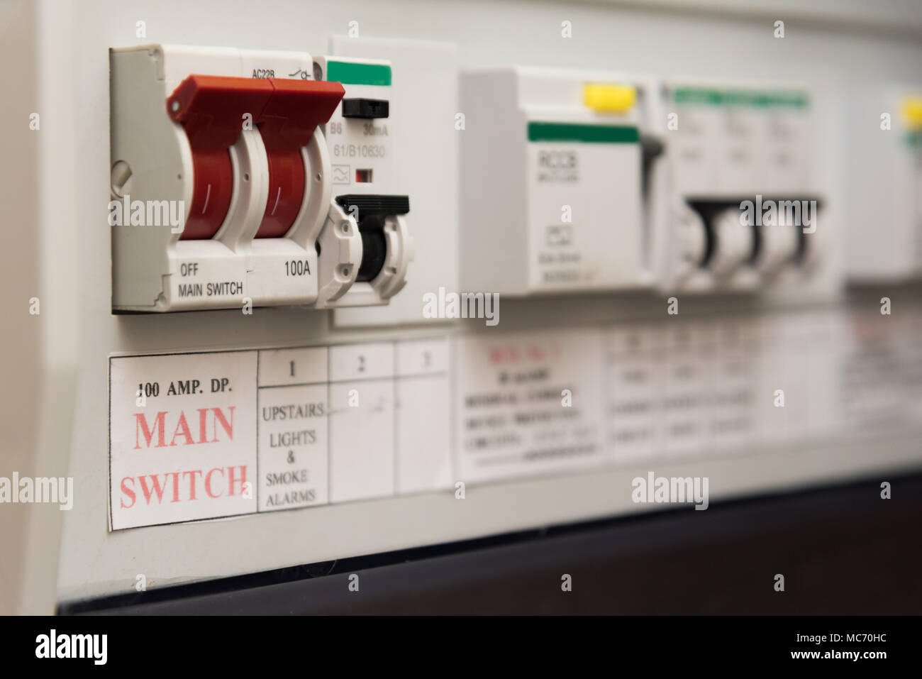 Consumer Unit Stock Photos Images Alamy Home Tube Fuse Box Close Up Of A Mcb Micro Circuit Breaker On Uk Domestic Electrical