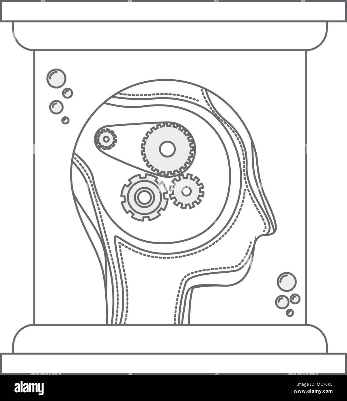 head profile human with gears in futuristic glass bottle vector illustration design Stock Vector