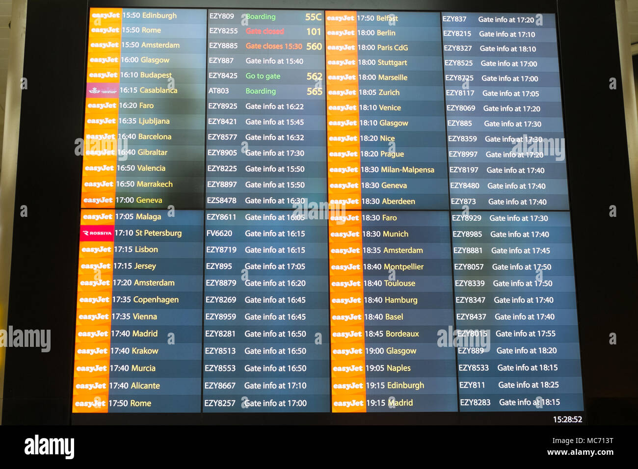 Flight departure board London Gatwick Airport, LGW, England, United Kingdom. - Stock Image