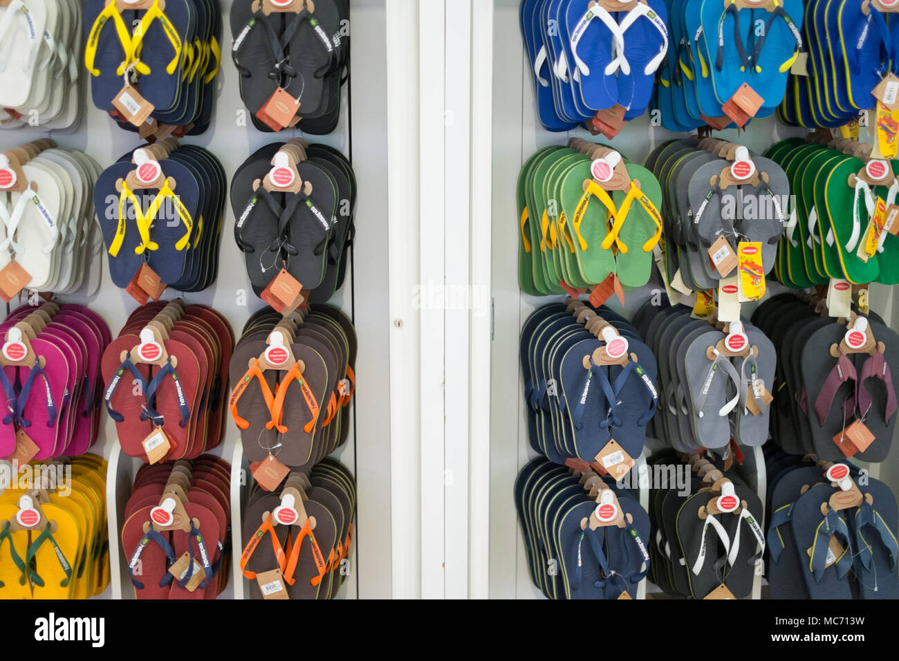 Holiday flip flops havaianas on sale at London Gatwick airport. - Stock Image