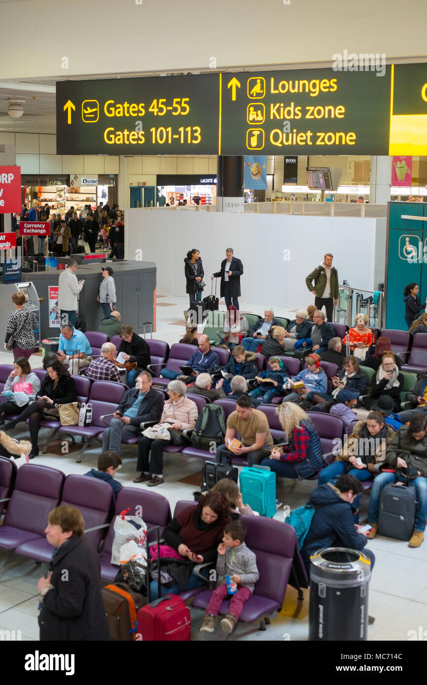 Departure waiting lounge London Gatwick airport LGW, England, United Kingdom. - Stock Image