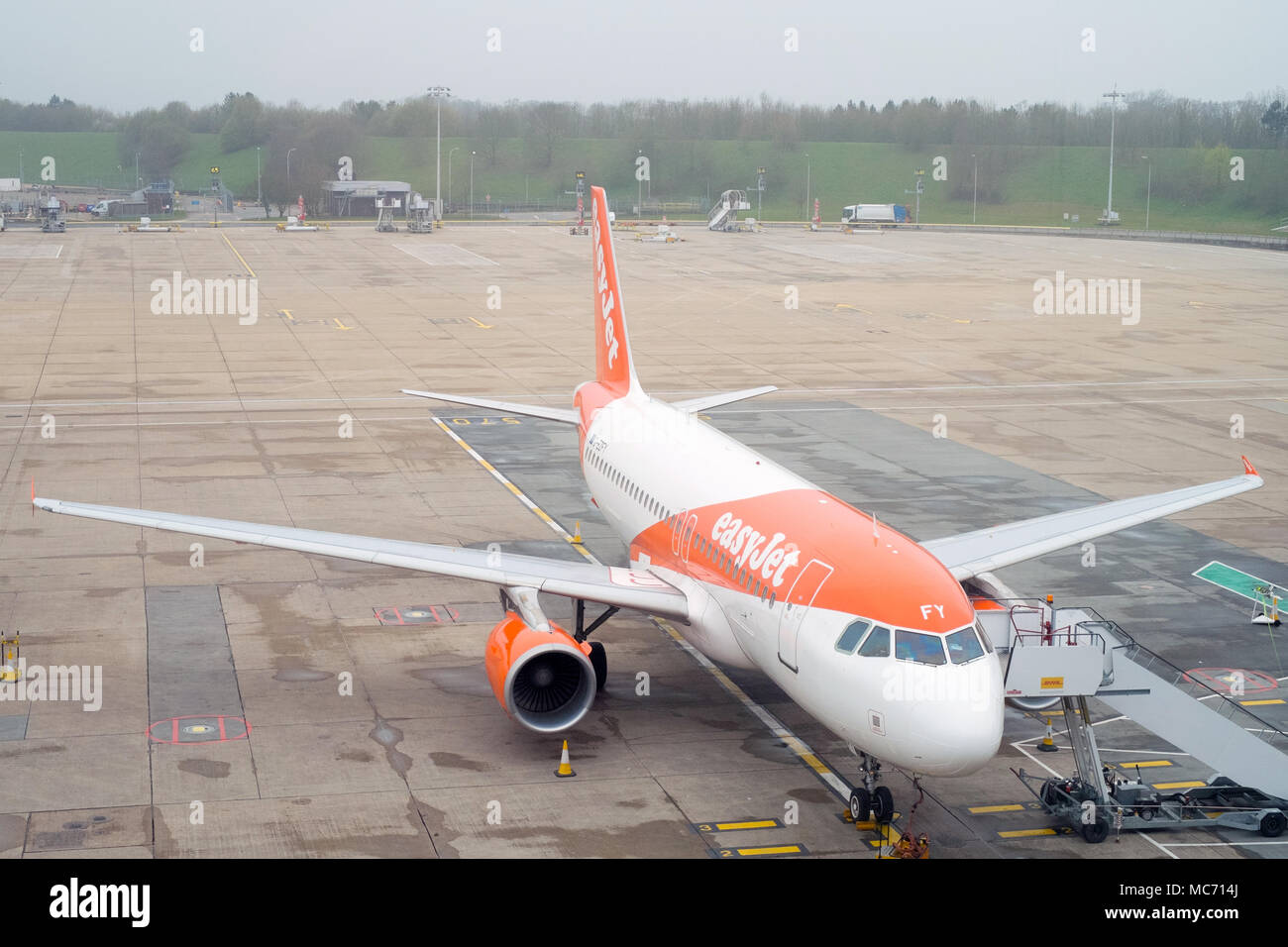 Easy jet flight between London Gatwick LGW and Vienna Austria VIE - Stock Image