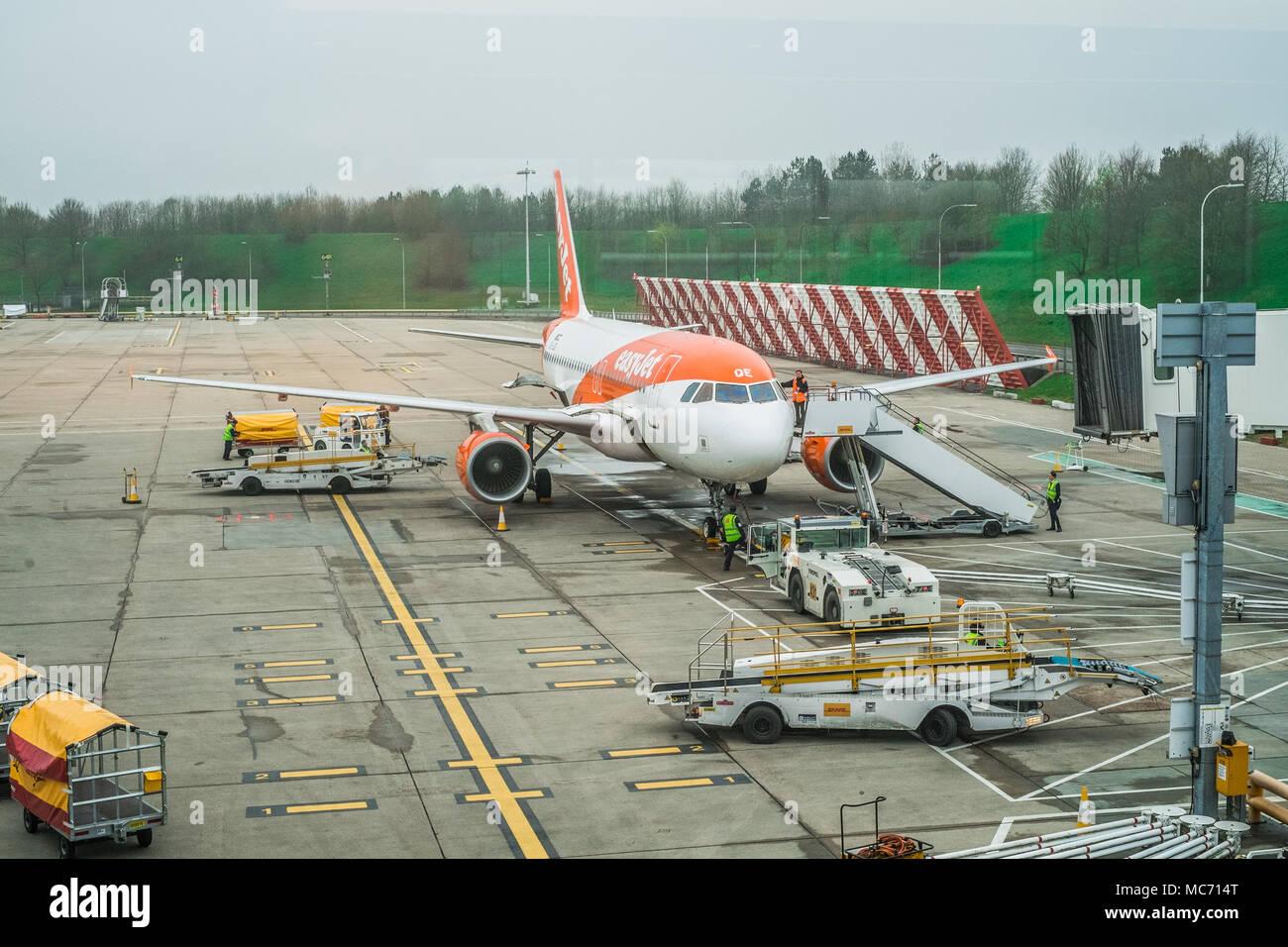 Easy Jet passenger jet at  London Gatwick LGW - Stock Image