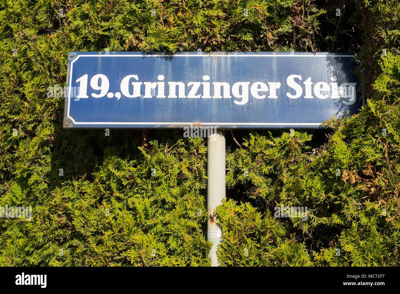 19.,Grinzinger Stieg street sign, Grinzing, Vienna, Austria, Europe. - Stock Image