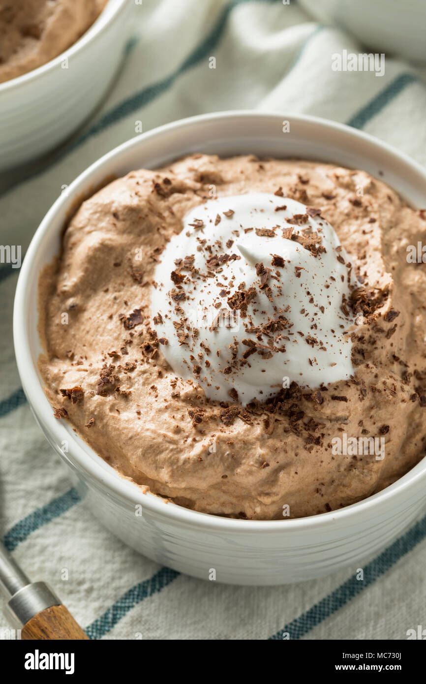 Homemade Sweet Chocolate Mousse with Whipped Cream - Stock Image
