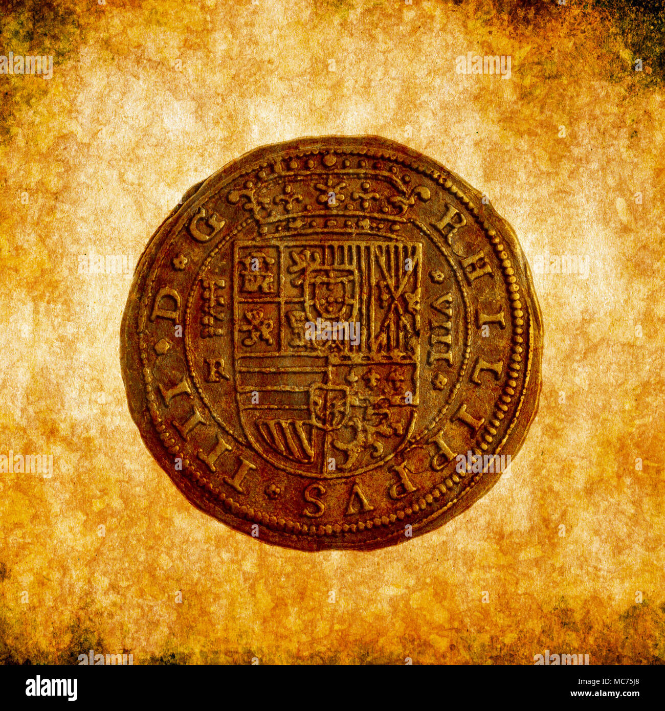ancient coin on grunge background - Stock Image