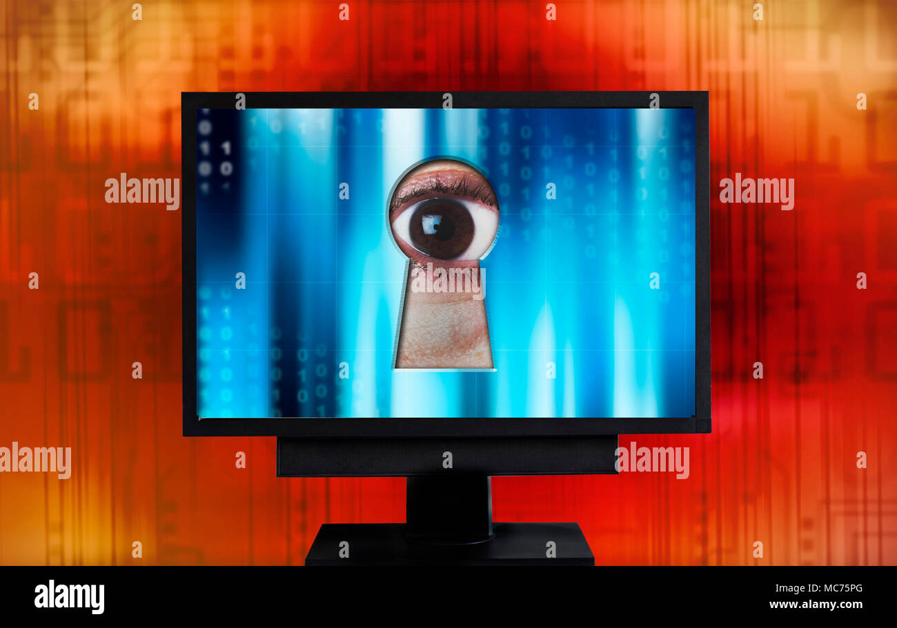 eye spying from monitor keyhole, internet security and privacy violation concept - Stock Image