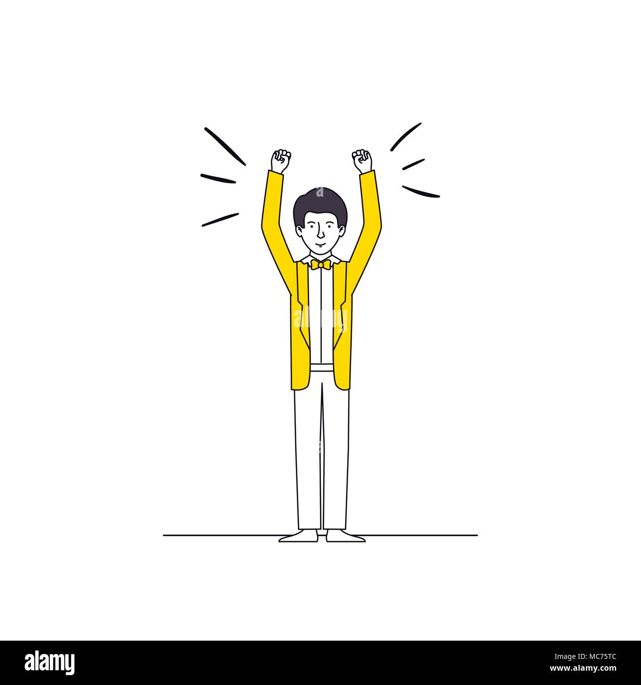 man celebrating with hands up - Stock Vector