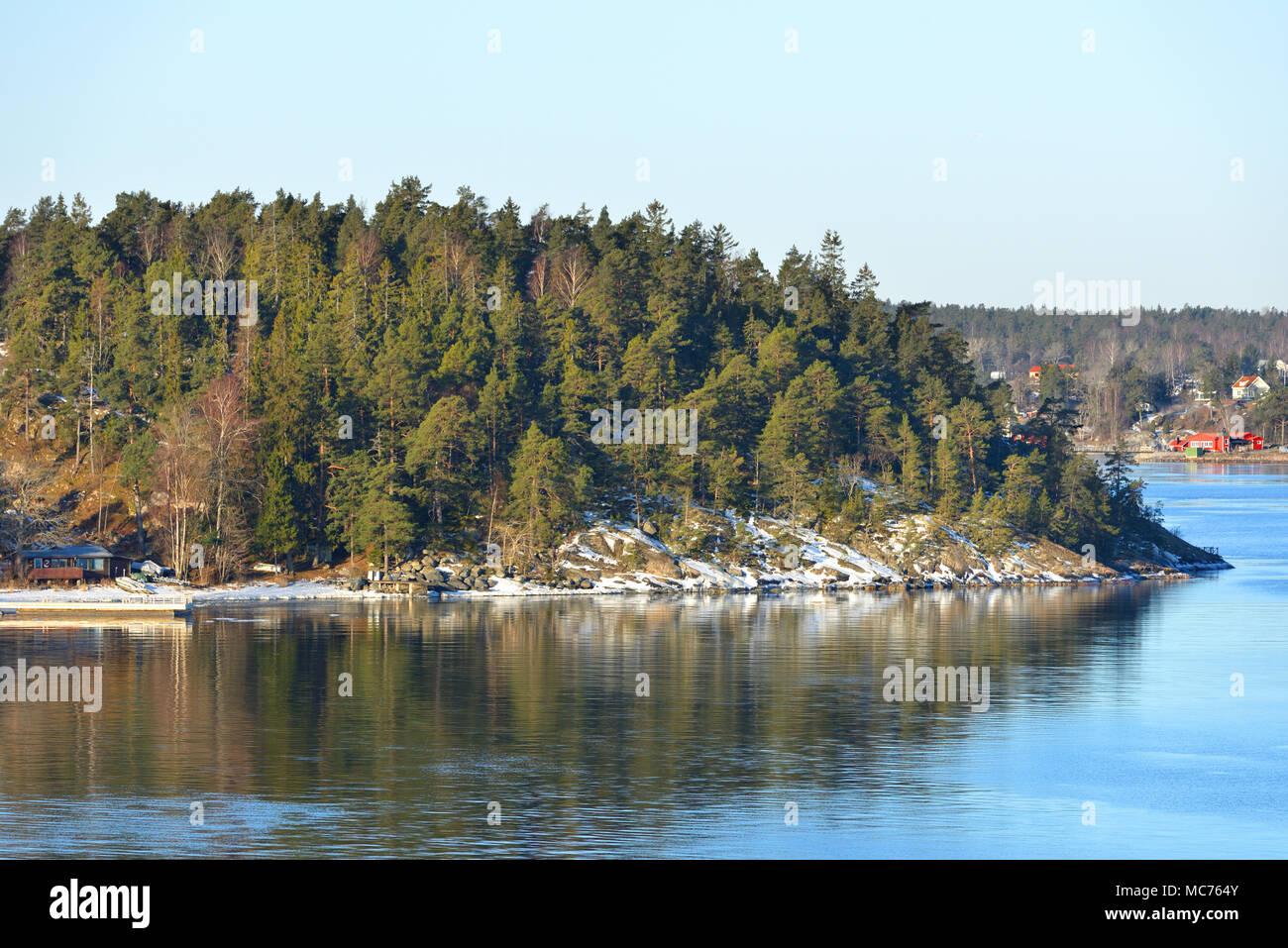 Stockholm archipelago, largest archipelago in Sweden, and second-largest archipelago in Baltic Sea. March - Stock Image