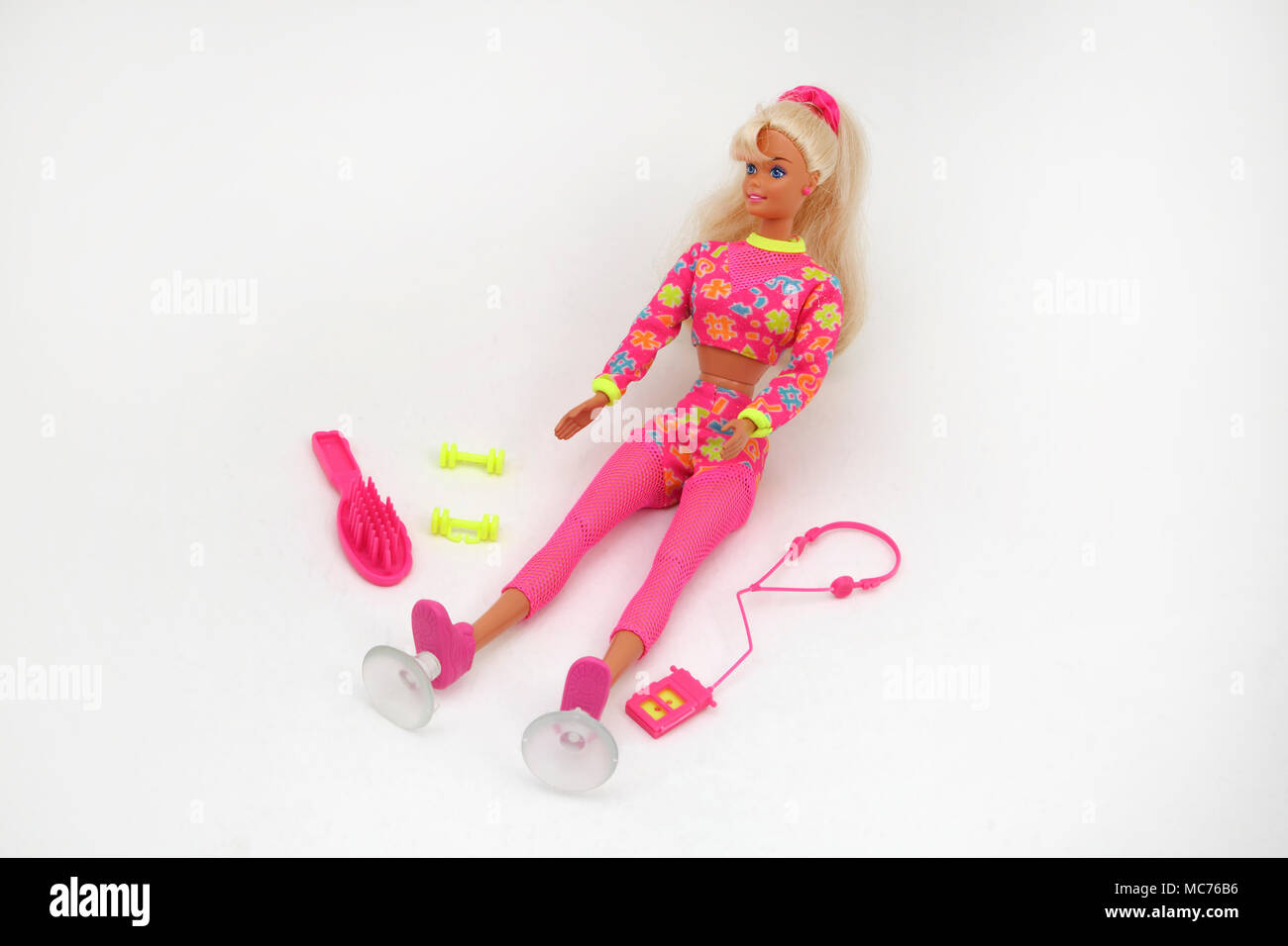1996 Worki'n Out Barbie with Walkman, Dumb Bells and Brush - Stock Image