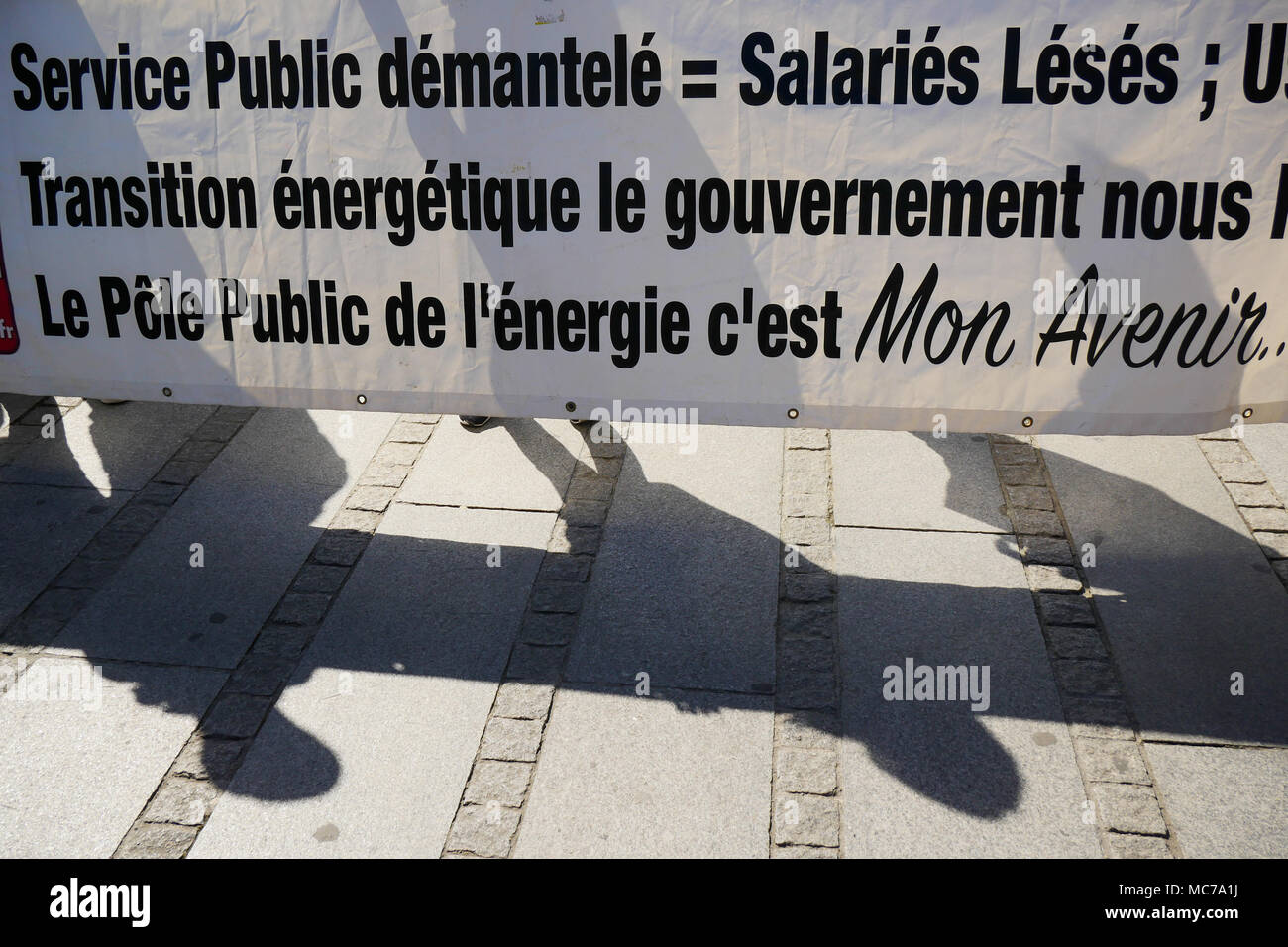 Lyon, France, 13th April 2018: Called by trade unions, SNCF employees are seen in Lyon (Central-Eastern France) on April 13, 2018 as they gather in front of Part-Dieu Railway station on the fifth day of action against status reform engaged by French Government.  Credit: Serge Mouraret/Alamy Live News - Stock Image