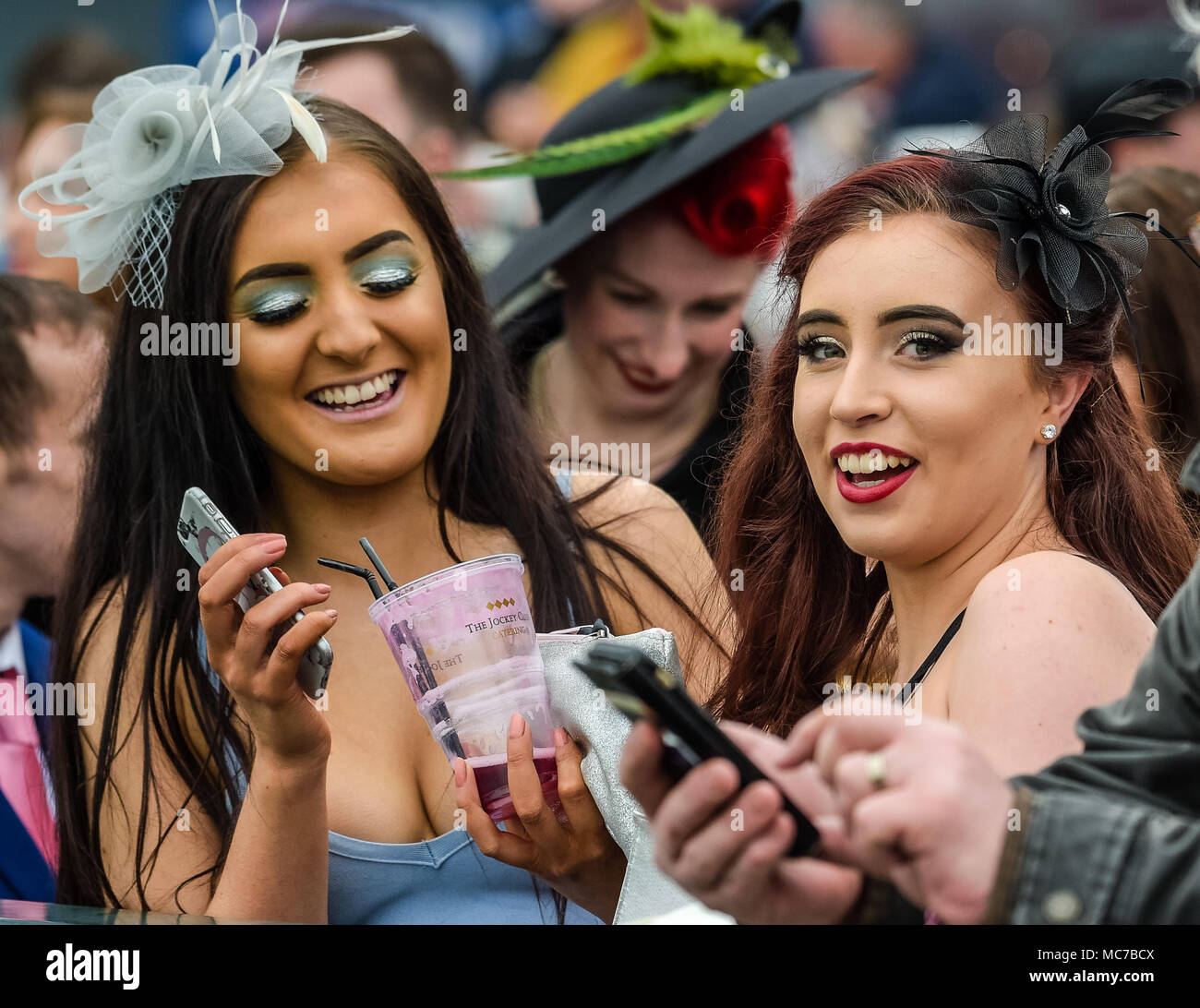 Aintree, Liverpool, Merseyside, UK. 13th April 2018, Aintree Racecourse, Liverpool, England; The Randox Health Grand National 2018; Race goers enjoying Ladies Day at the 2018 Grand National Credit: News Images/Alamy Live News Stock Photo