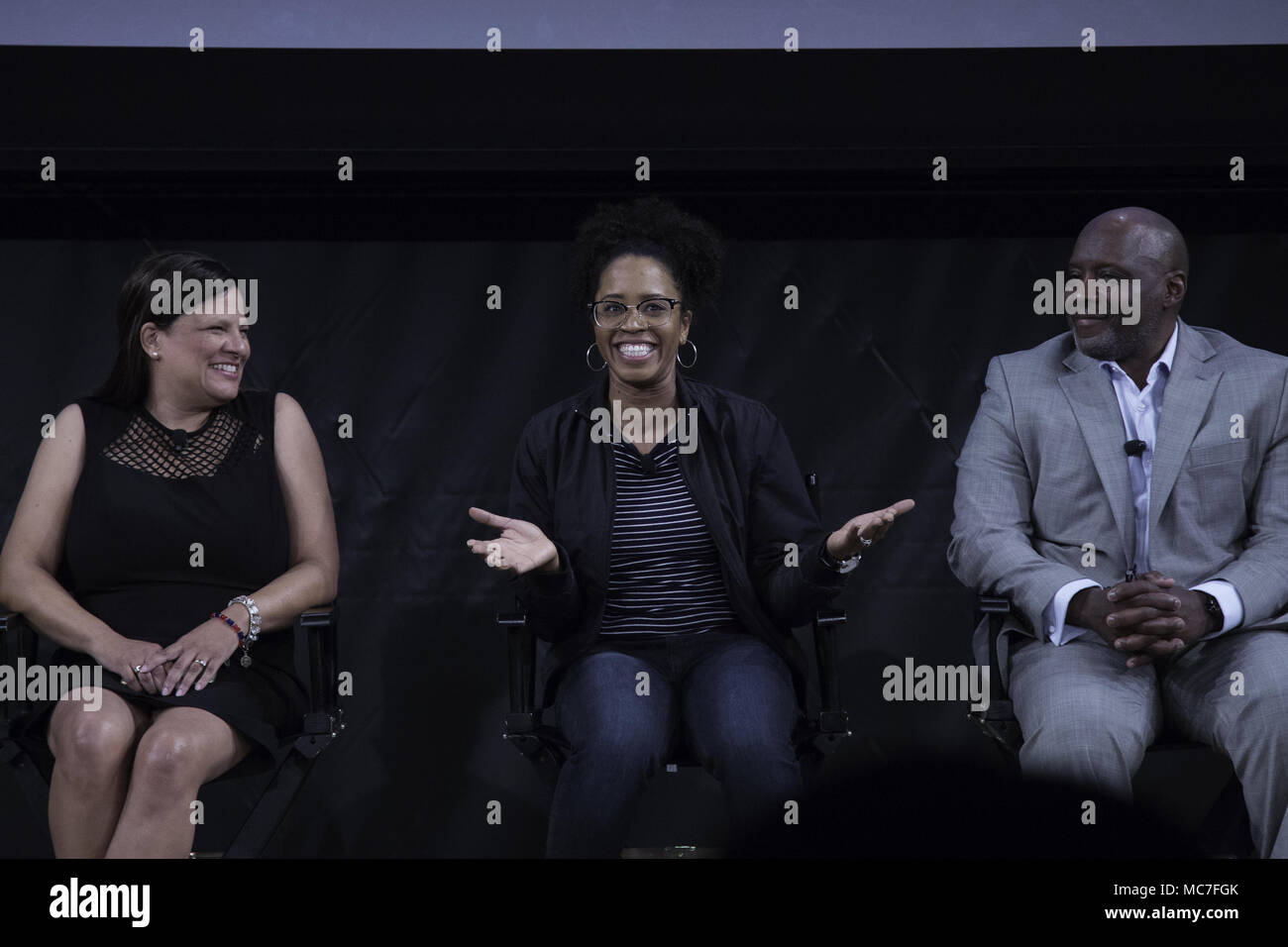 New York, NY, USA. 12th Apr, 2018. KAREN DONOVAN BROWN, The great granddaughter of Marshall Walter ''Major'' Taylor, Ayesha McGowan, Elite cyclist, Anthony Taylor, National Brotherhood of Cyclists, are guest panelist for the premiere of ''The Major'' in New York. 'The Major'' is a documentary on the life of Marshall Walter ''Major'' Taylor which will be broadcasted on ESPN. Taylor was the first African-American World Champion cyclist. Credit: Brian Branch Price/ZUMA Wire/Alamy Live News - Stock Image