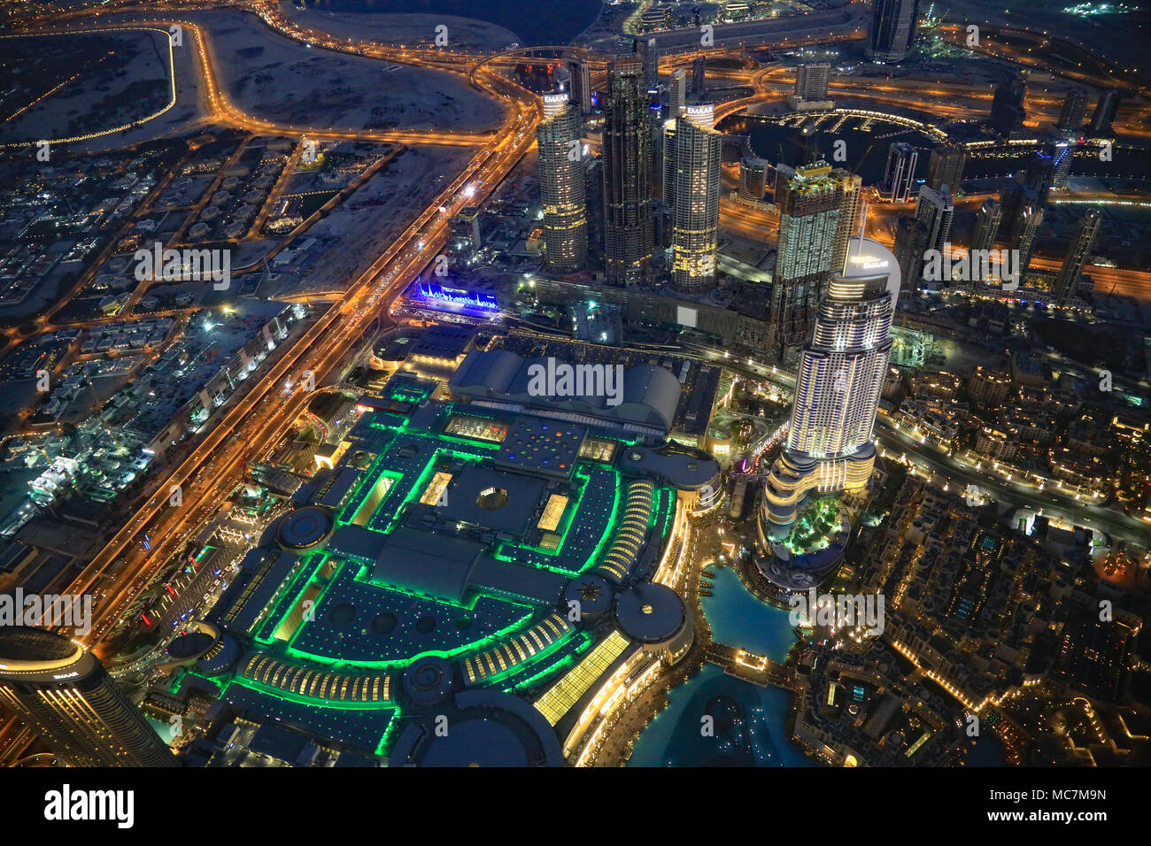 Dubai, the largest city in the United Arab Emirates. Oil was discovered in 1966 which accelerated growth. Today only 5% of revenue comes from oil. - Stock Image