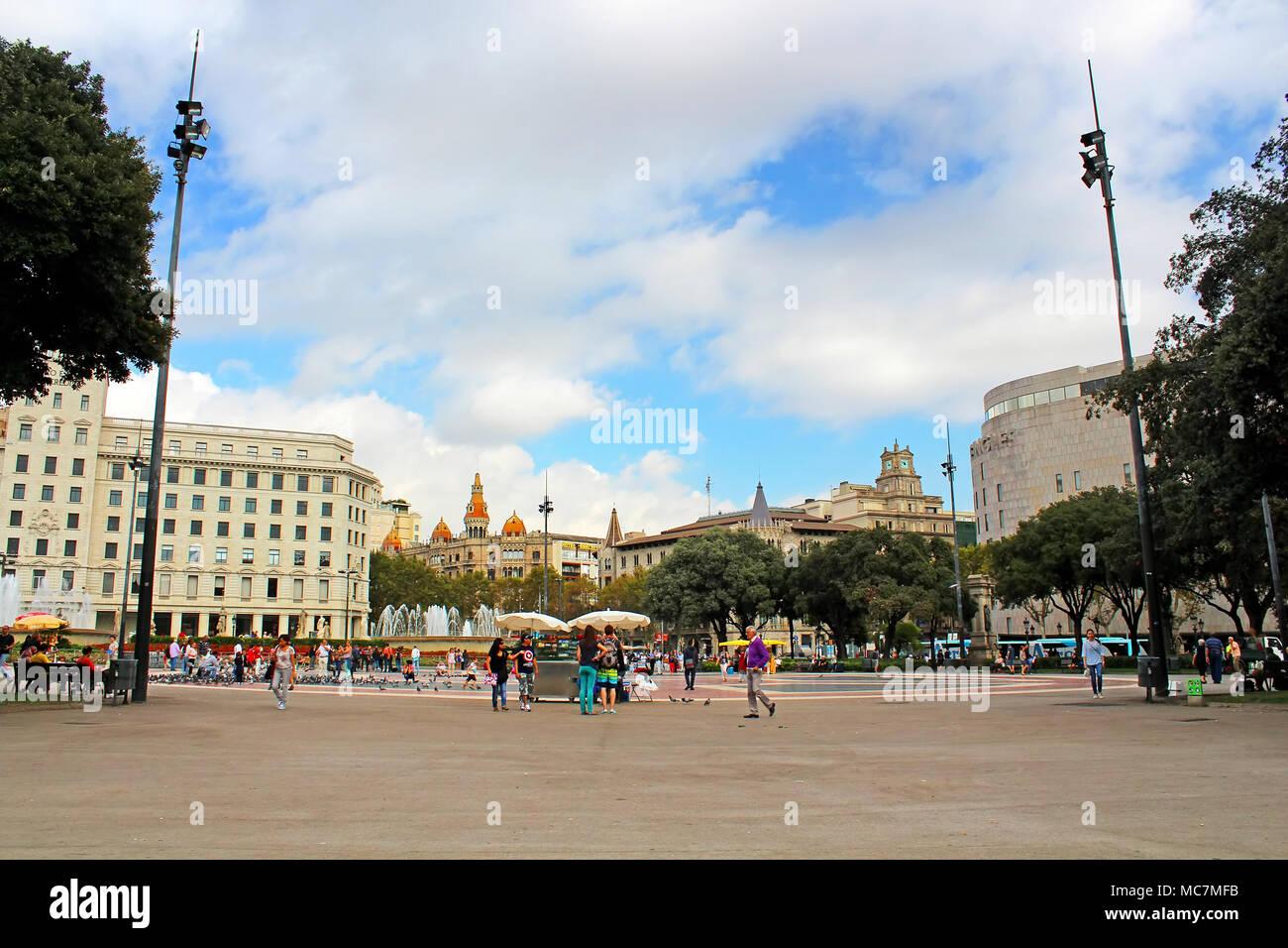 BARCELONA, SPAIN- OCTOBER 08: Catalonia Square on October 08, 2013 in Barcelona, Spain - Stock Image