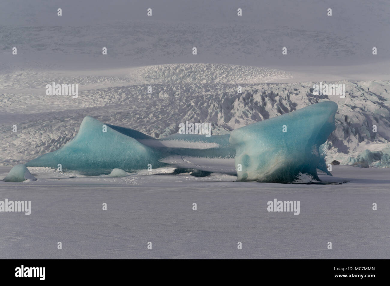 Detail of Kjallsarlon glacier from the frozen laggon, Iceland - Stock Image